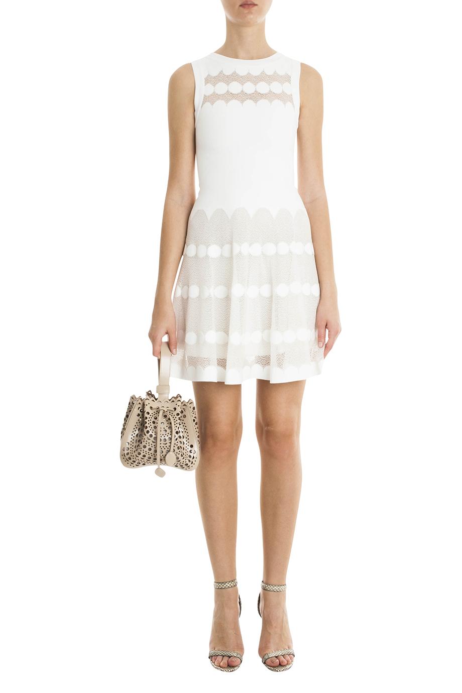 Alaïa Polka Dot Dress in White