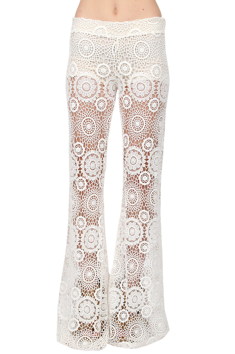 Crochet Pants : Nightcap Carmen Crochet Lace Pants in White (NATURAL) Lyst