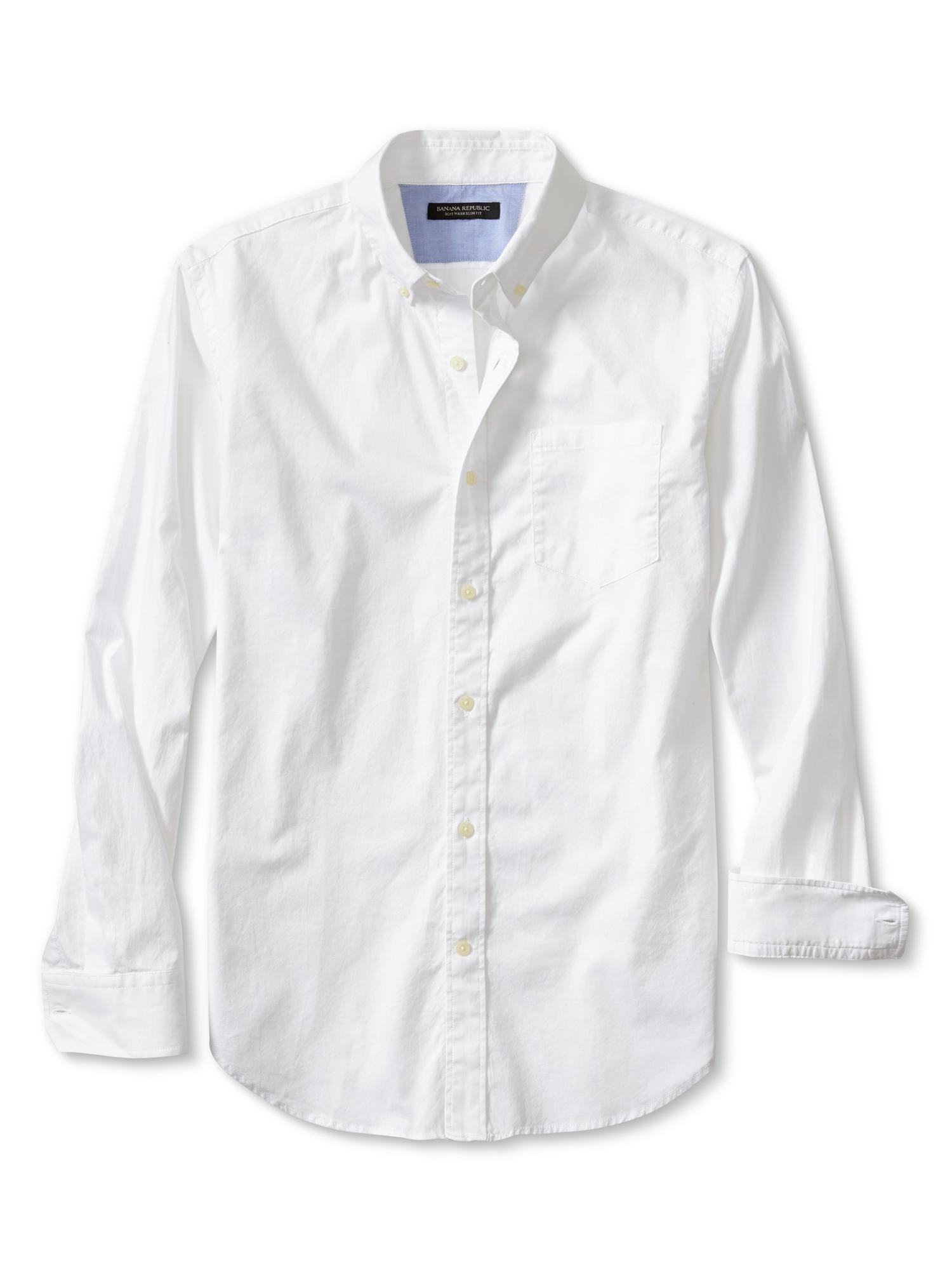 Banana republic slim fit soft wash button down shirt in for Slim fit white button down shirt