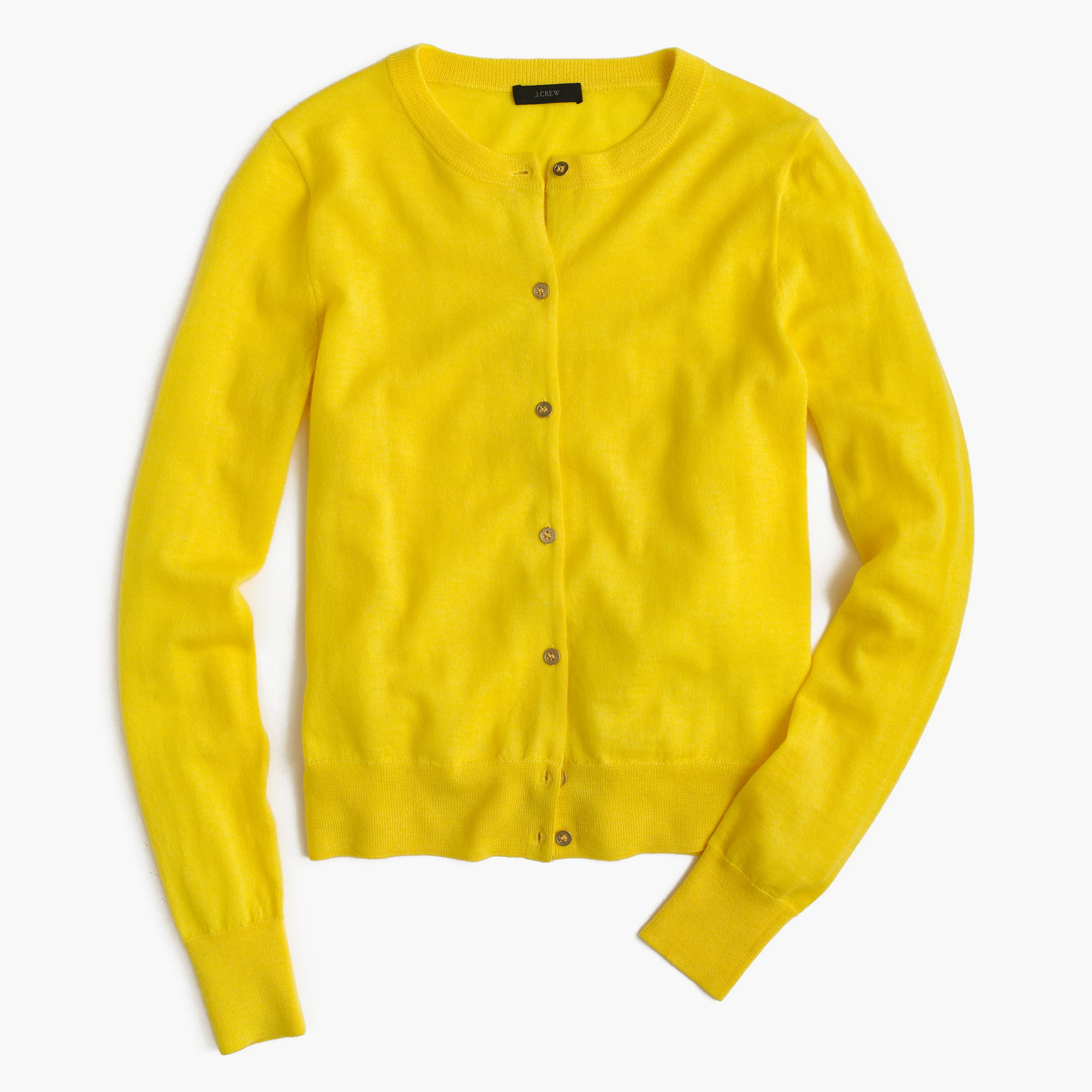 J.crew Lightweight Wool Jackie Cardigan Sweater in Yellow | Lyst