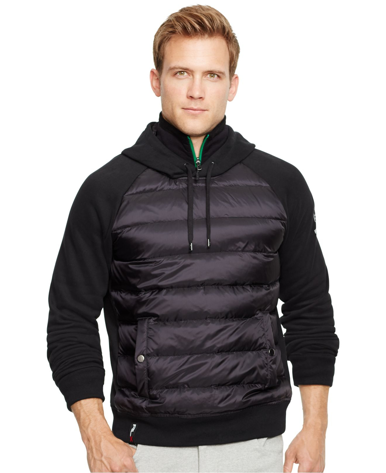 polo ralph lauren rlx quilted fleece hoodie in black for men lyst. Black Bedroom Furniture Sets. Home Design Ideas