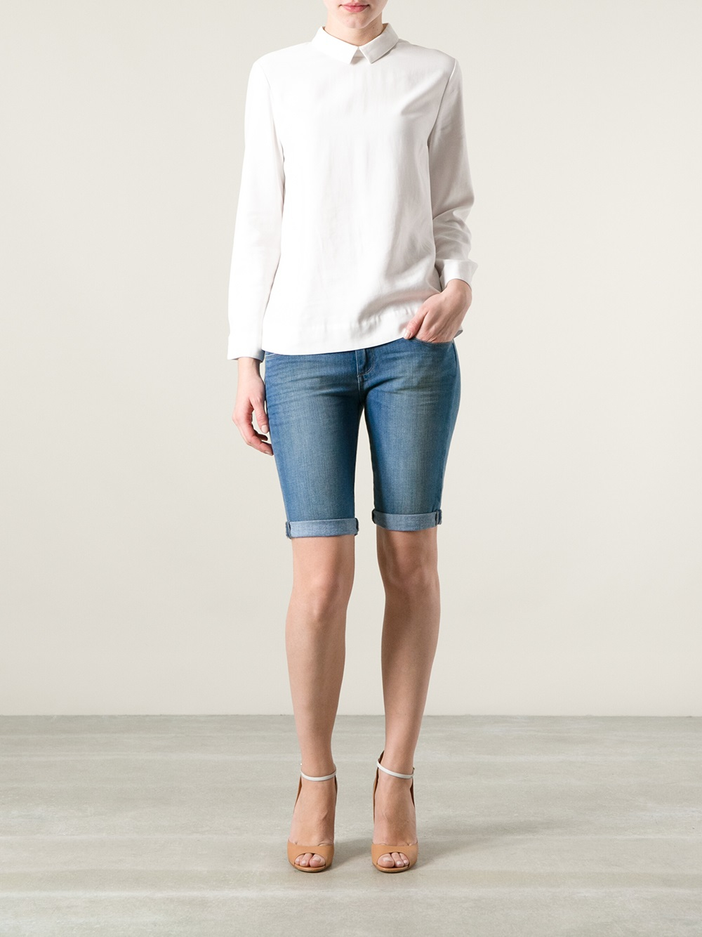 Paige Jax Knee Length Denim Shorts in Blue | Lyst