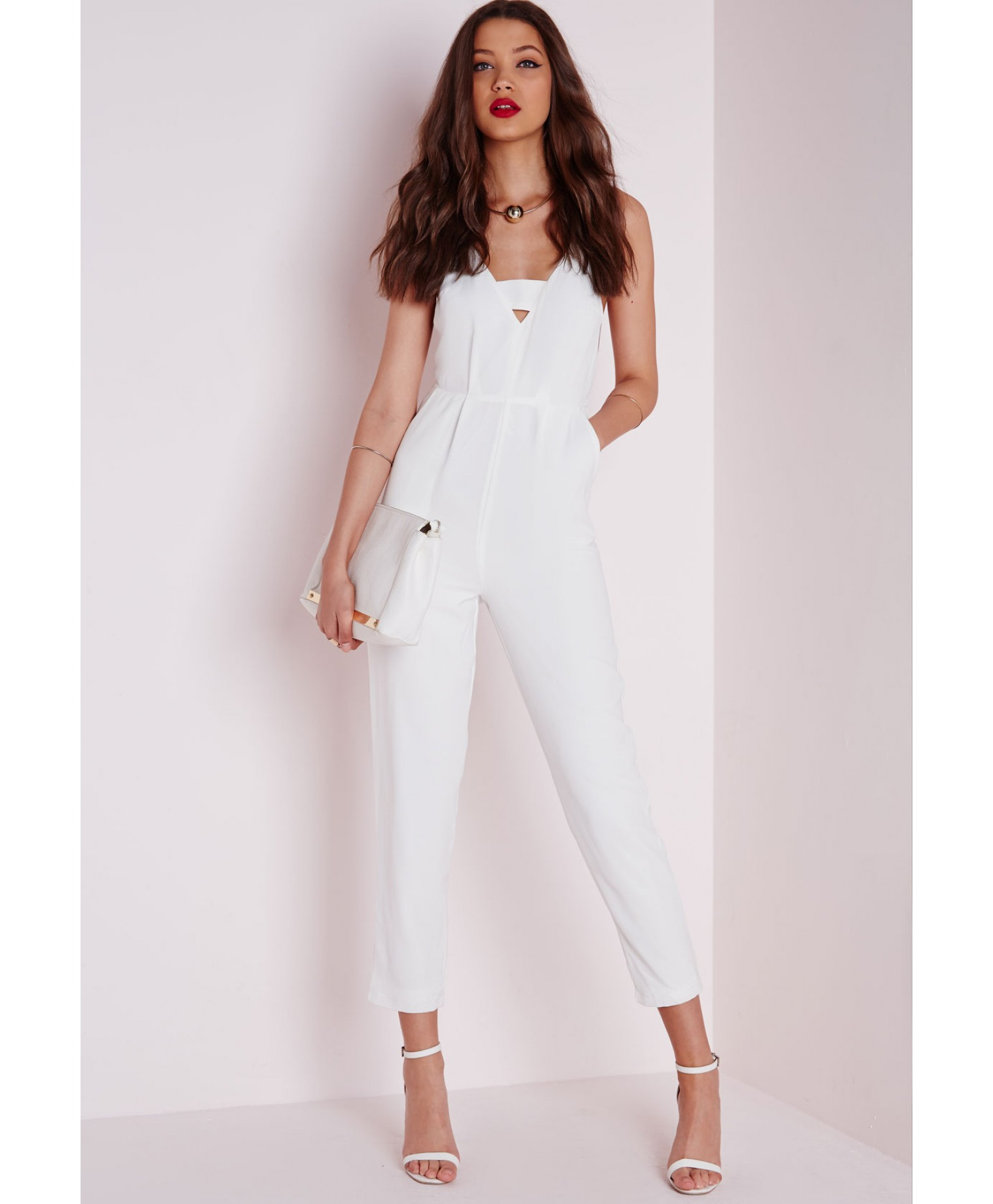80ea9706016 Missguided Plunge Insert Strappy Jumpsuit White in White - Lyst