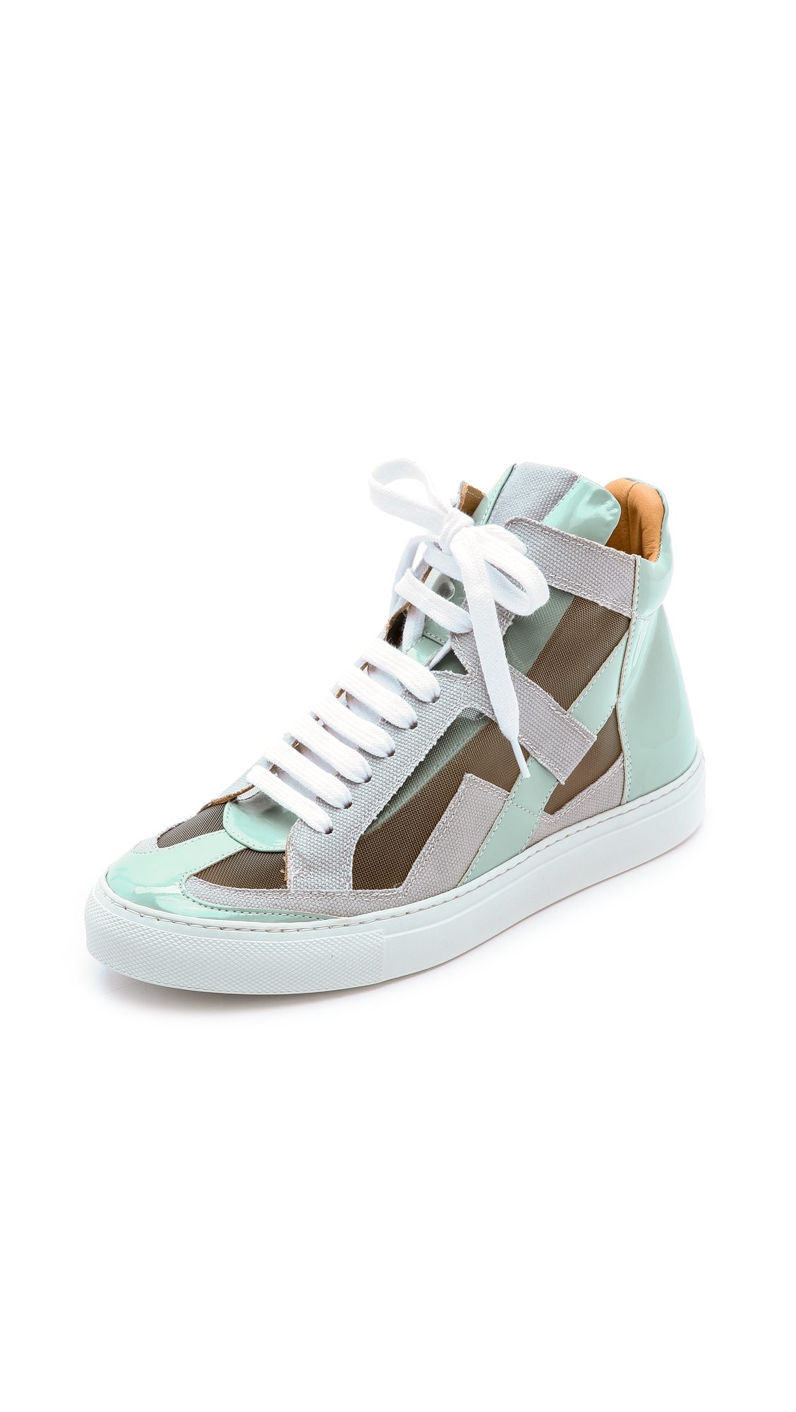 sale ebay sale Cheapest Maison Martin Margiela Mesh-Trimmed High-Top Sneakers cheap Inexpensive YUDQ3txnOD