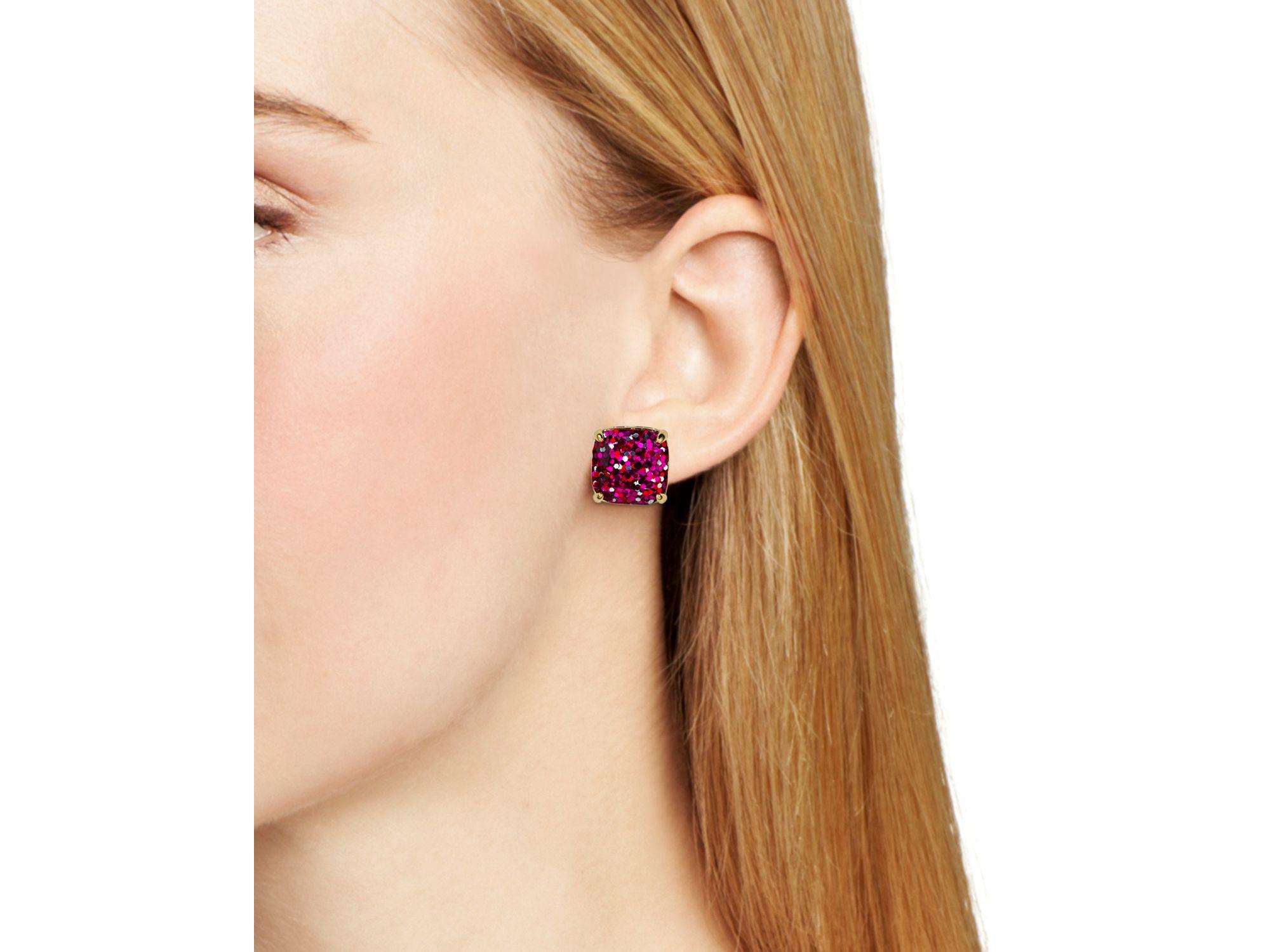 Kate Spade New York Small Square Glitter Stud Earrings In Metallic