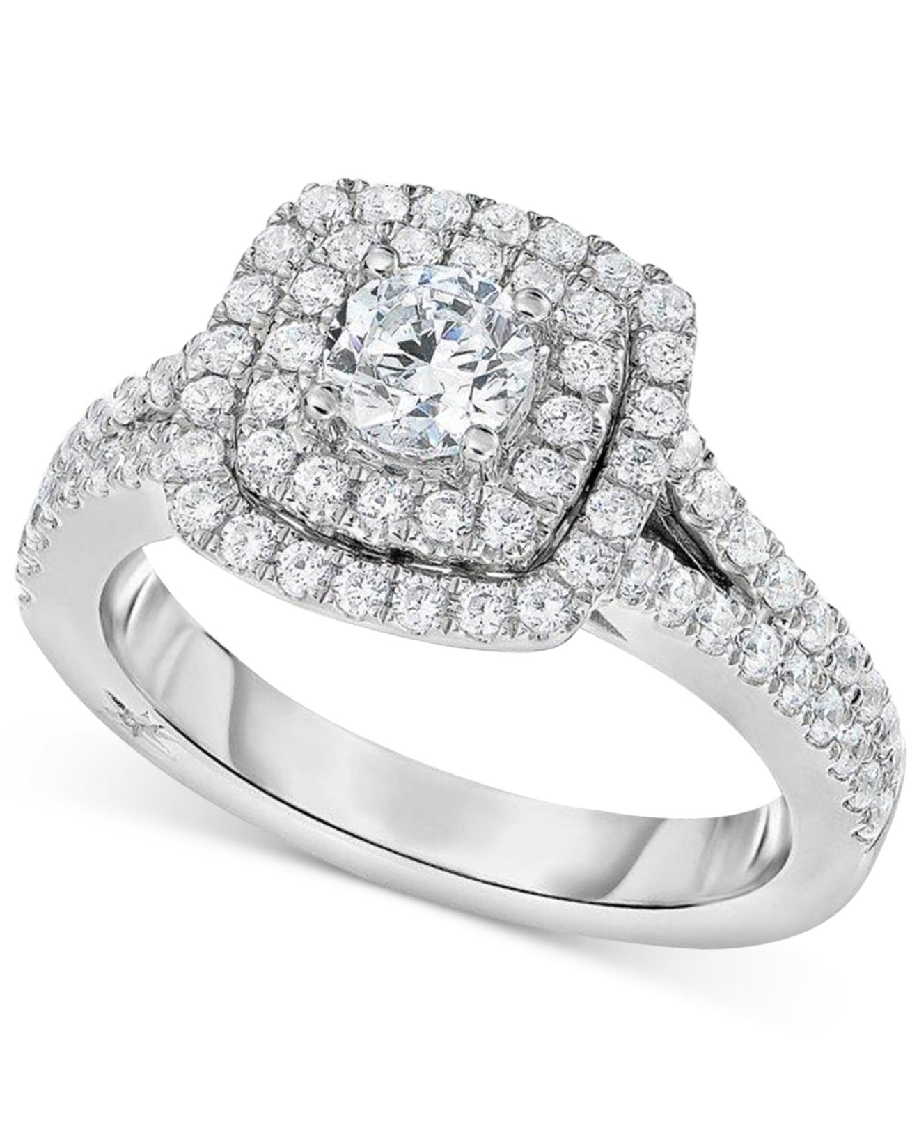 Marchesa Certified Diamond Square Halo Engagement Ring 1 1 4 Ct T w In 18