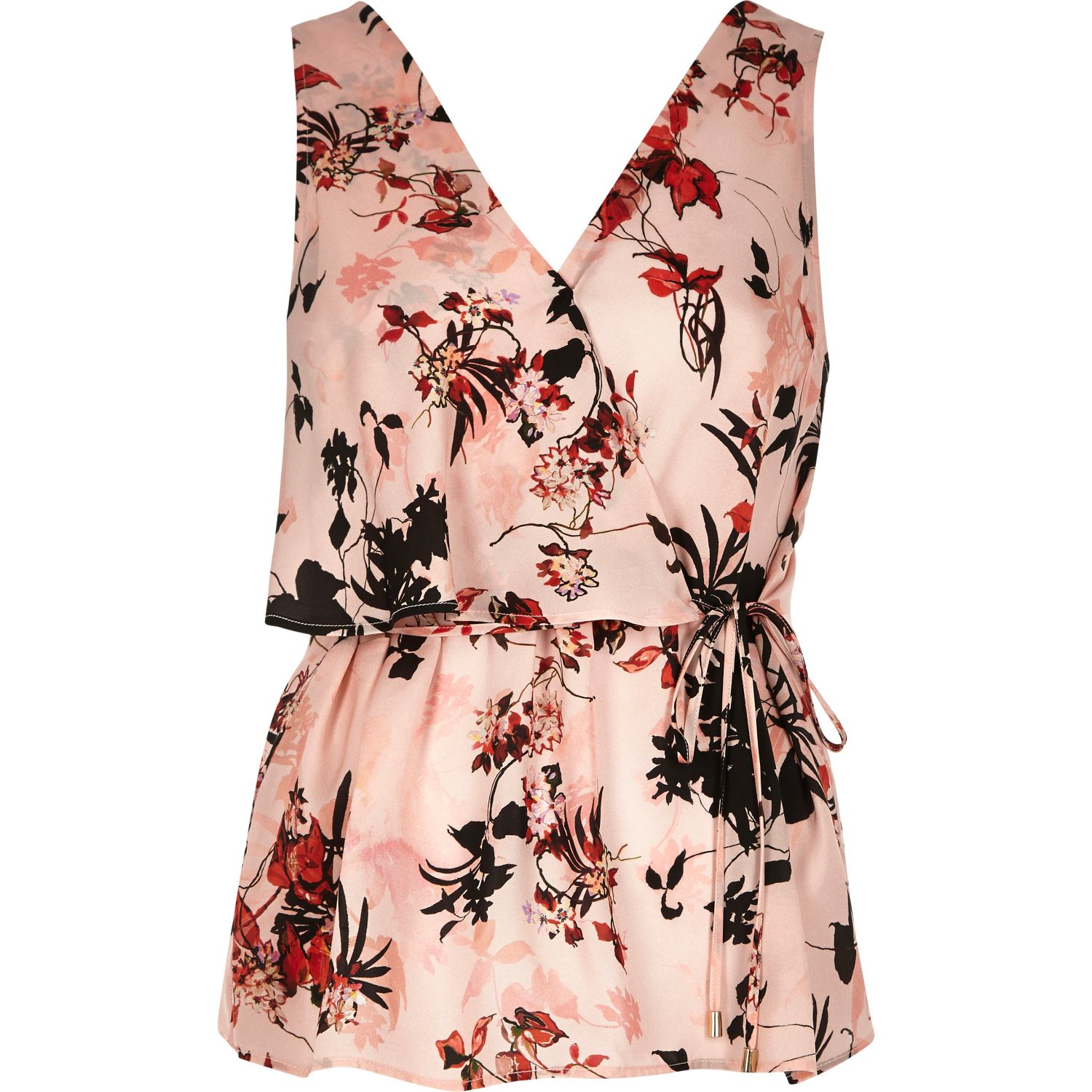 4122d9e2178ff2 River Island Pink Floral Print Frill Wrap V-neck Top in Pink - Lyst