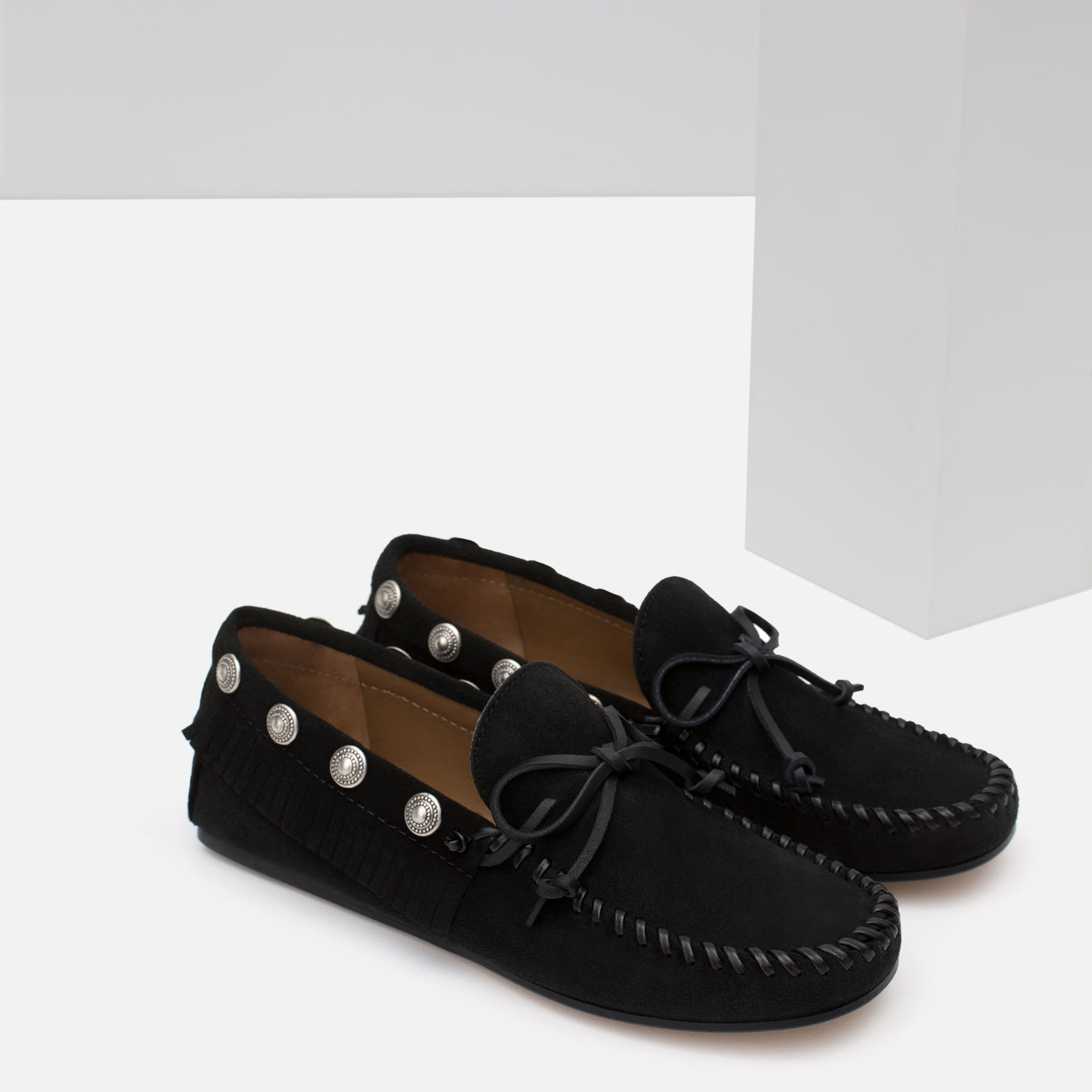 Zara Studded Leather Loafers In Black Lyst