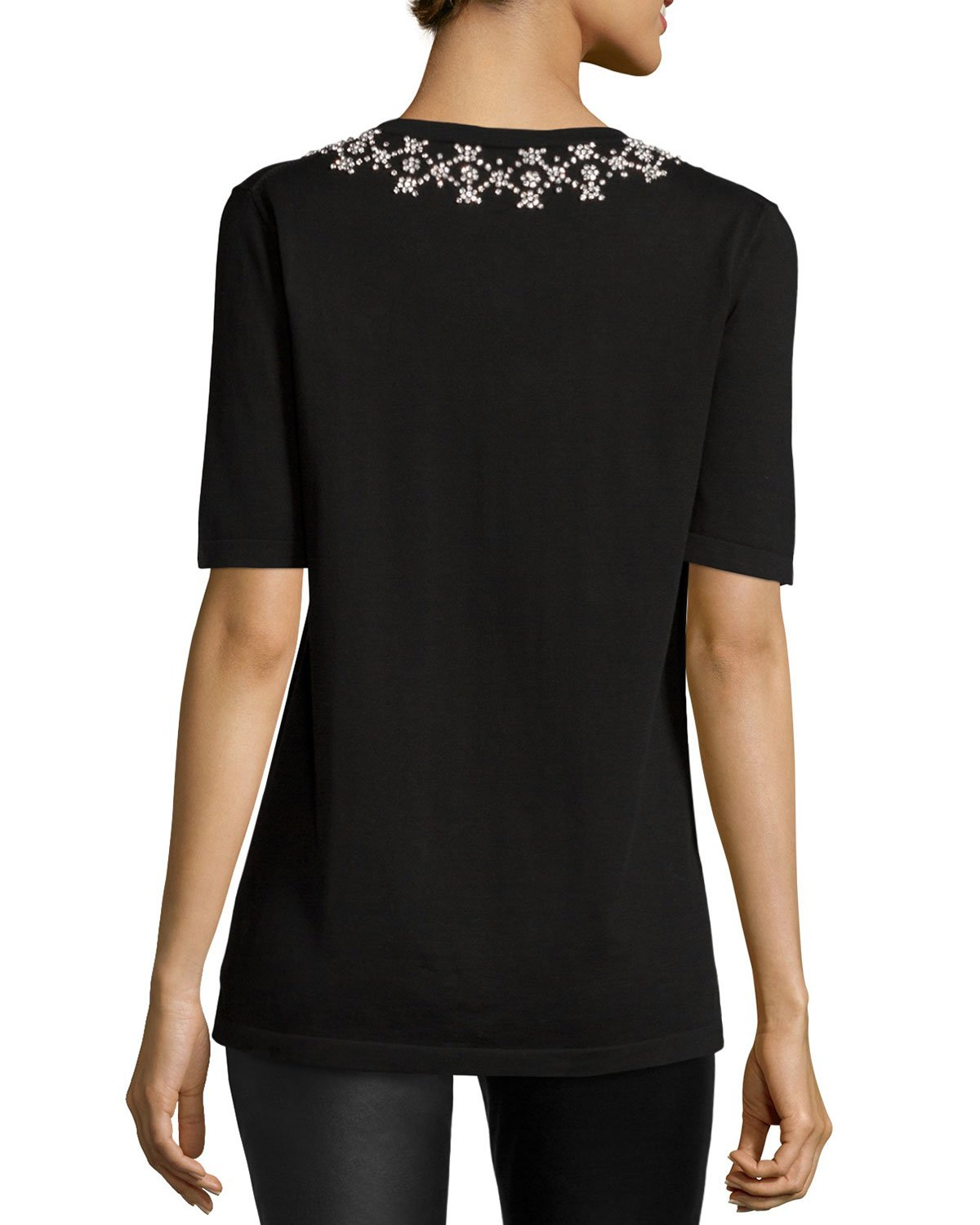 michael kors embellished neck short sleeve t shirt in black lyst. Black Bedroom Furniture Sets. Home Design Ideas
