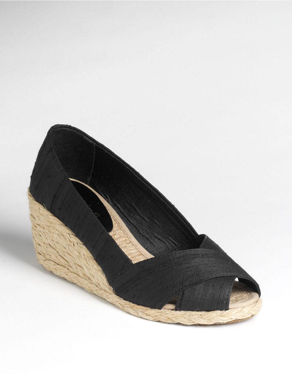 lauren by ralph lauren cecilia peep toe espadrilles in black lyst. Black Bedroom Furniture Sets. Home Design Ideas