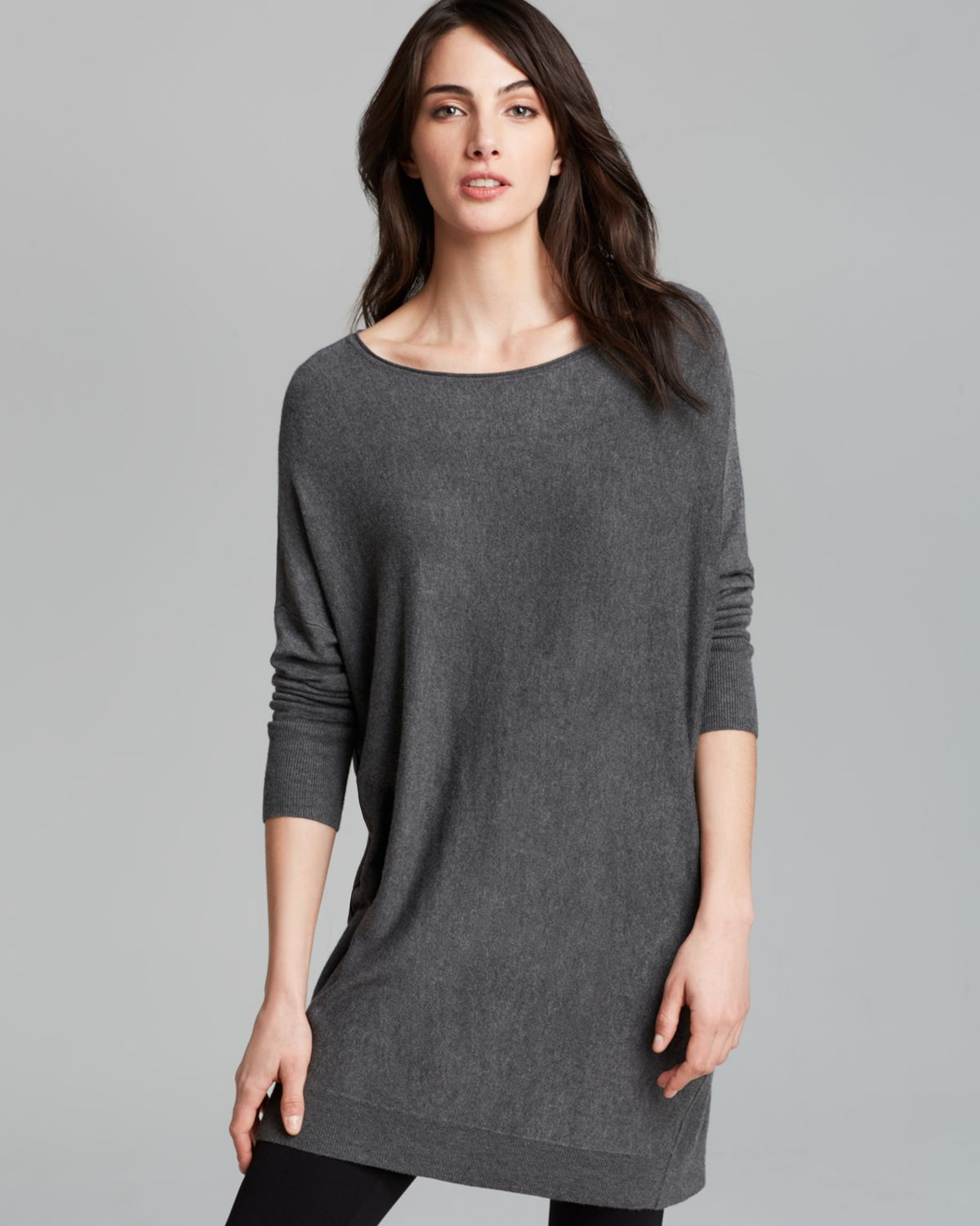 lyst eileen fisher ballet neck tunic in gray. Black Bedroom Furniture Sets. Home Design Ideas