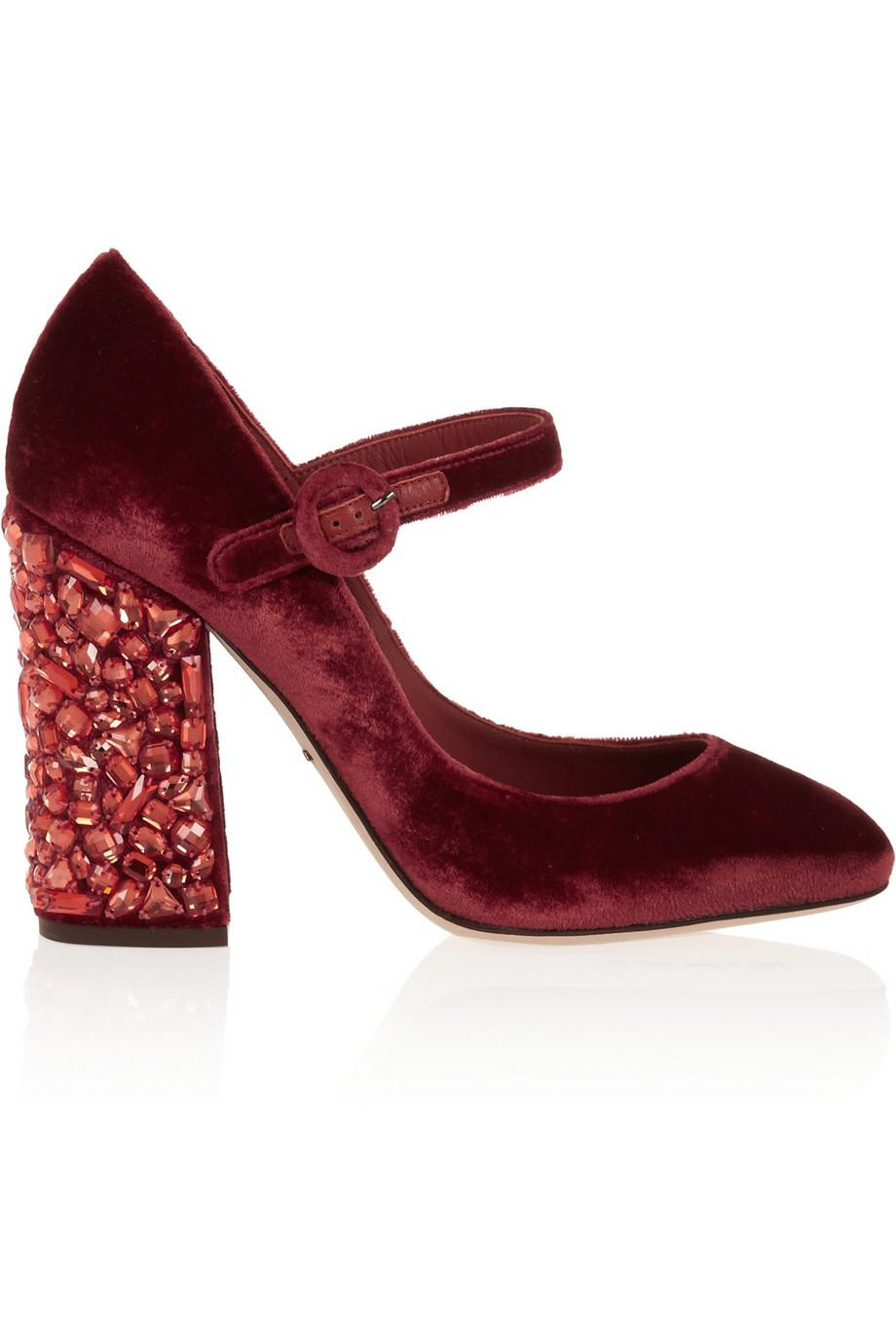 d4f257897737 Dolce   gabbana Vally Crystal-Embellished Velvet Pumps in Red