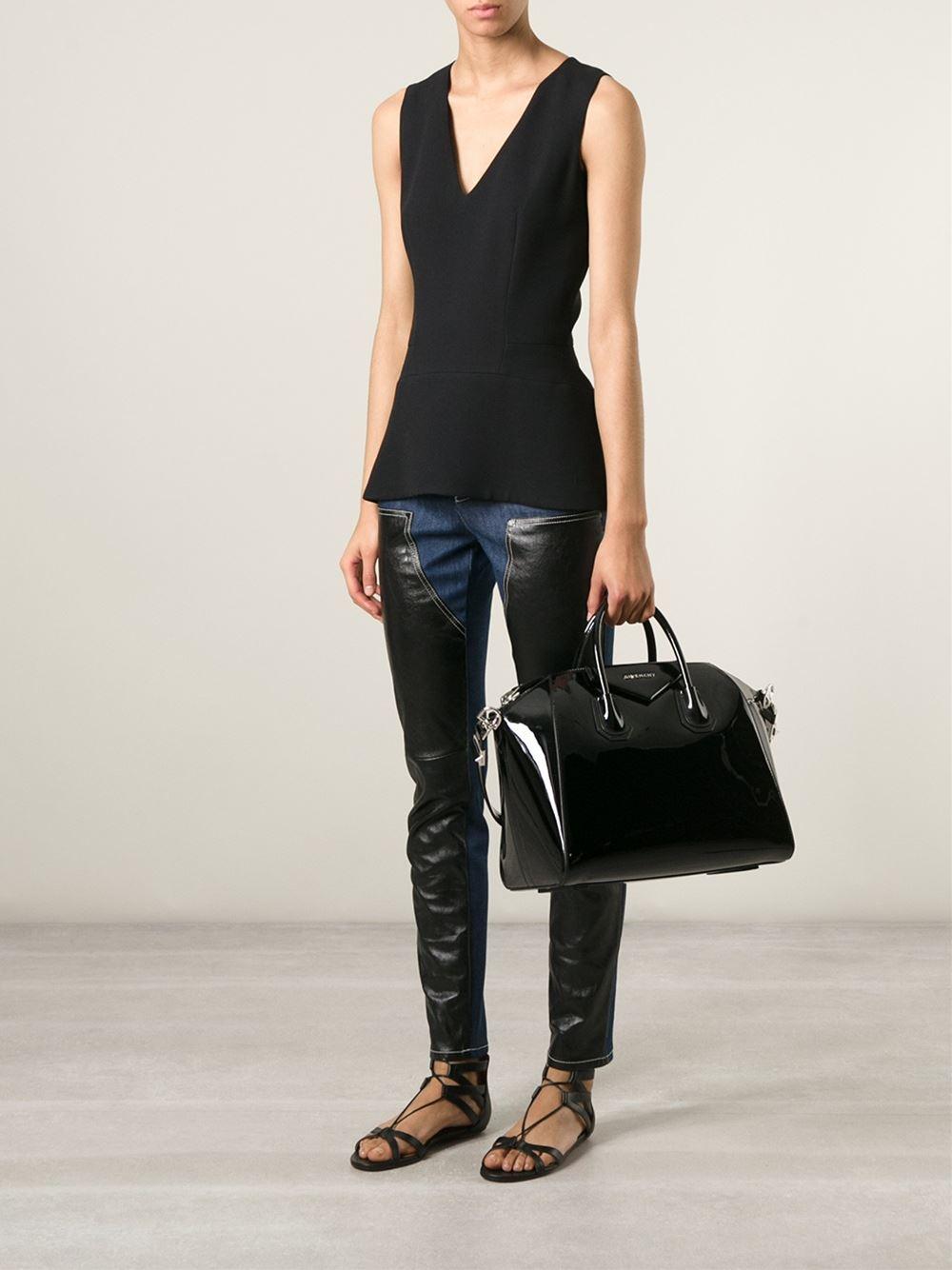 lyst givenchy antigona medium patent leather tote in black. Black Bedroom Furniture Sets. Home Design Ideas