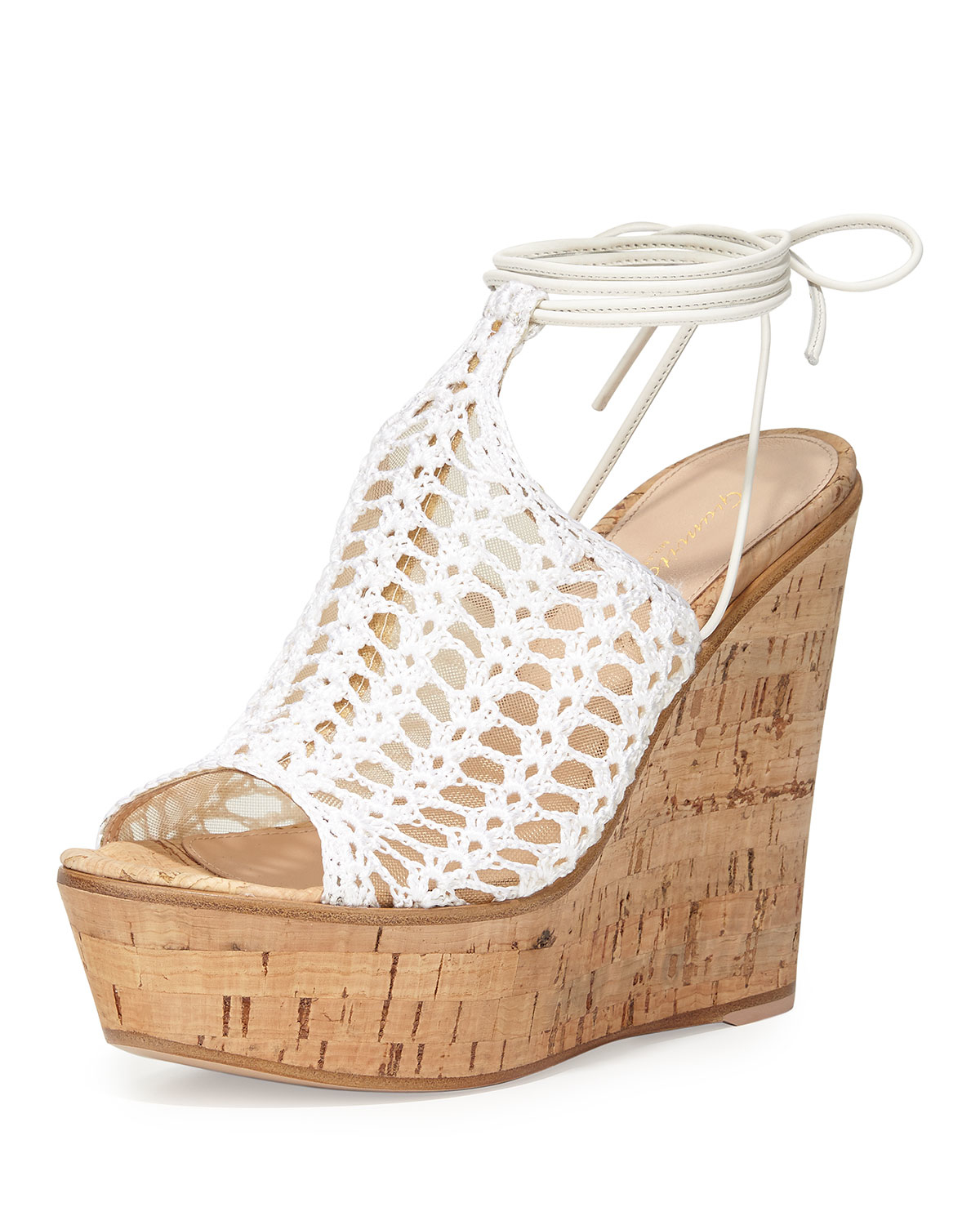 b249a42010c Lyst - Gianvito Rossi Crochet and Mesh Wedge Sandals in White