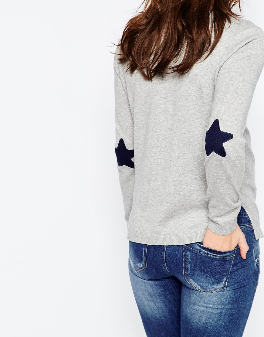 Lyst asos grey boxy jumper with navy star elbow patch in gray.