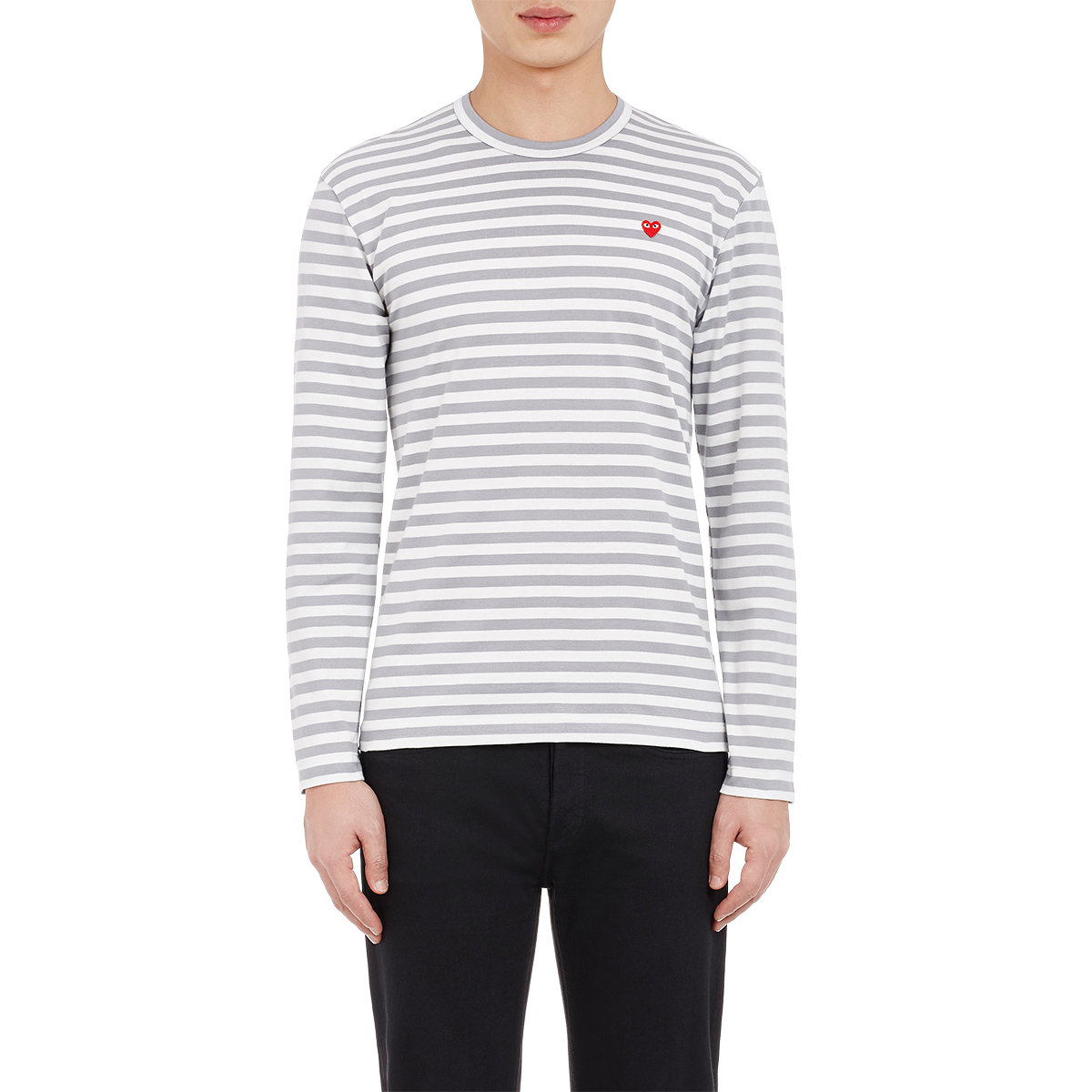Play Comme Des Gar Ons Striped Long Sleeve T Shirt In Gray