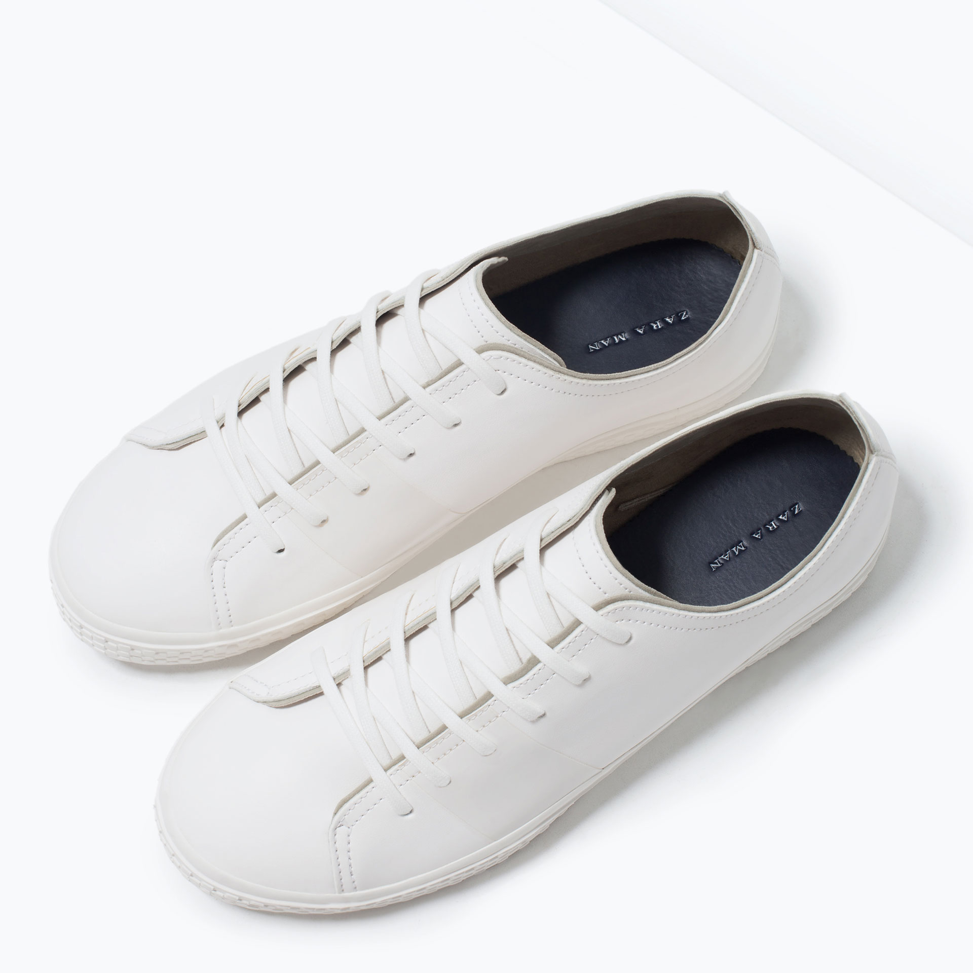 zara plimsolls with stripes in white lyst