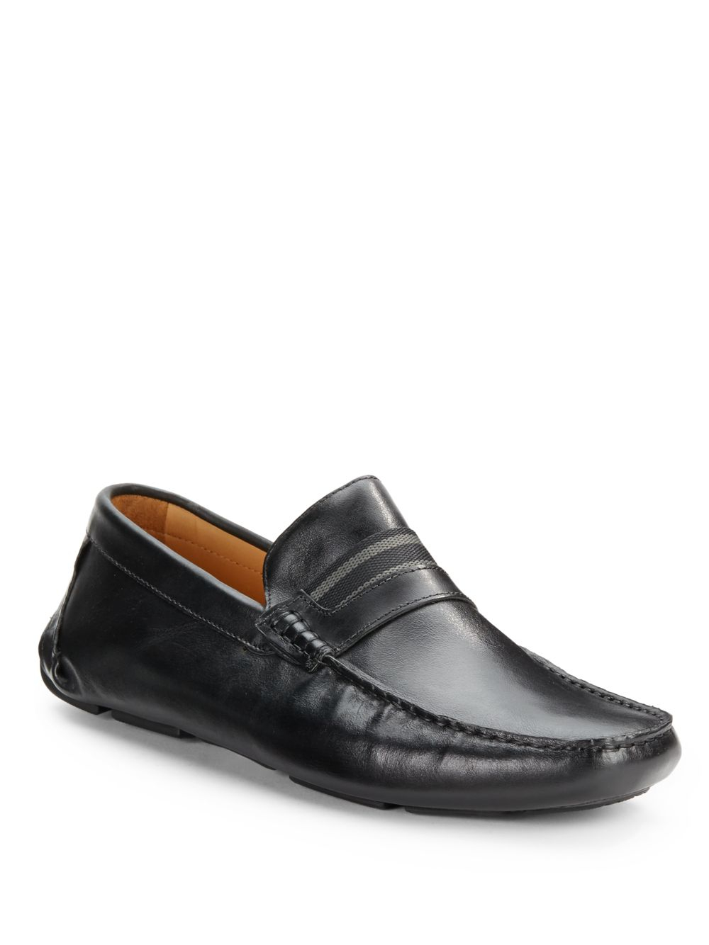 saks fifth avenue black label leather venetian shoes in