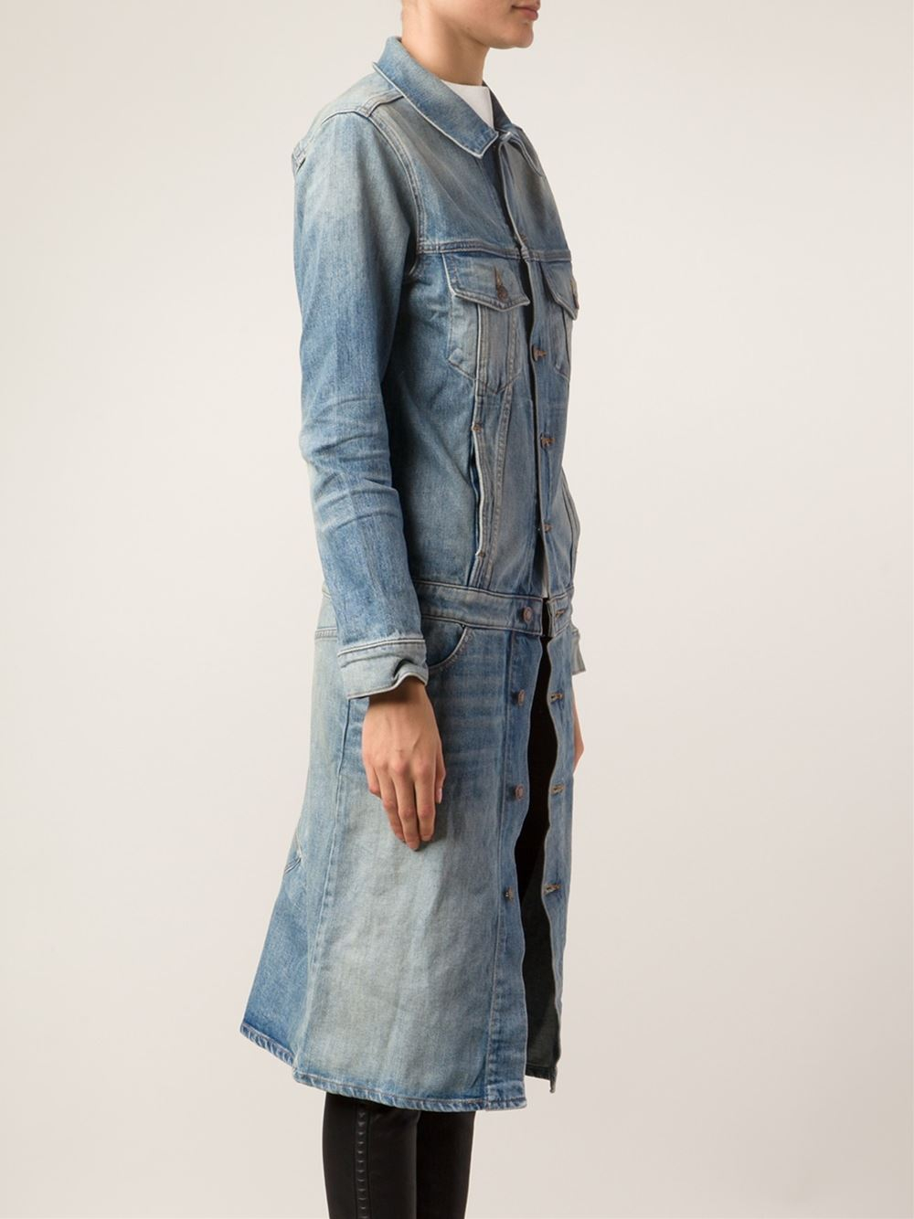 6397 Long Denim Jacket in Blue | Lyst