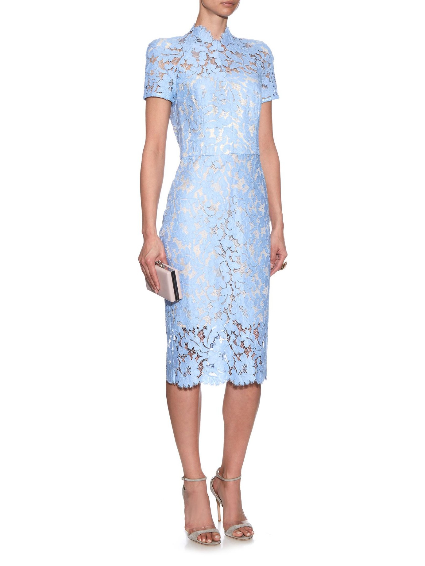 Lover Warrior French Lace Midi Dress In Blue Lyst