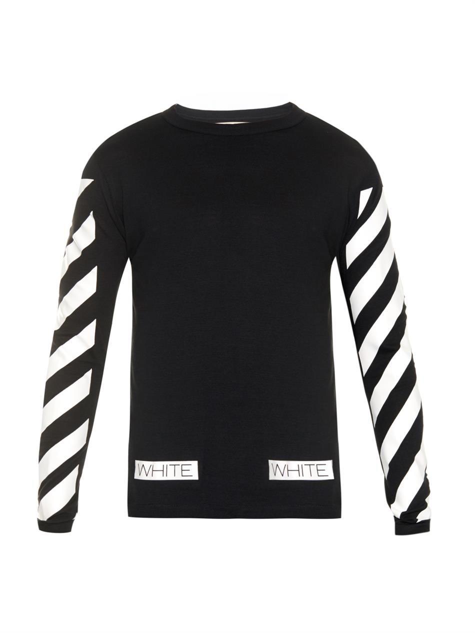 Off white striped long sleeved t shirt in black for men lyst for Black and white striped long sleeve shirt women