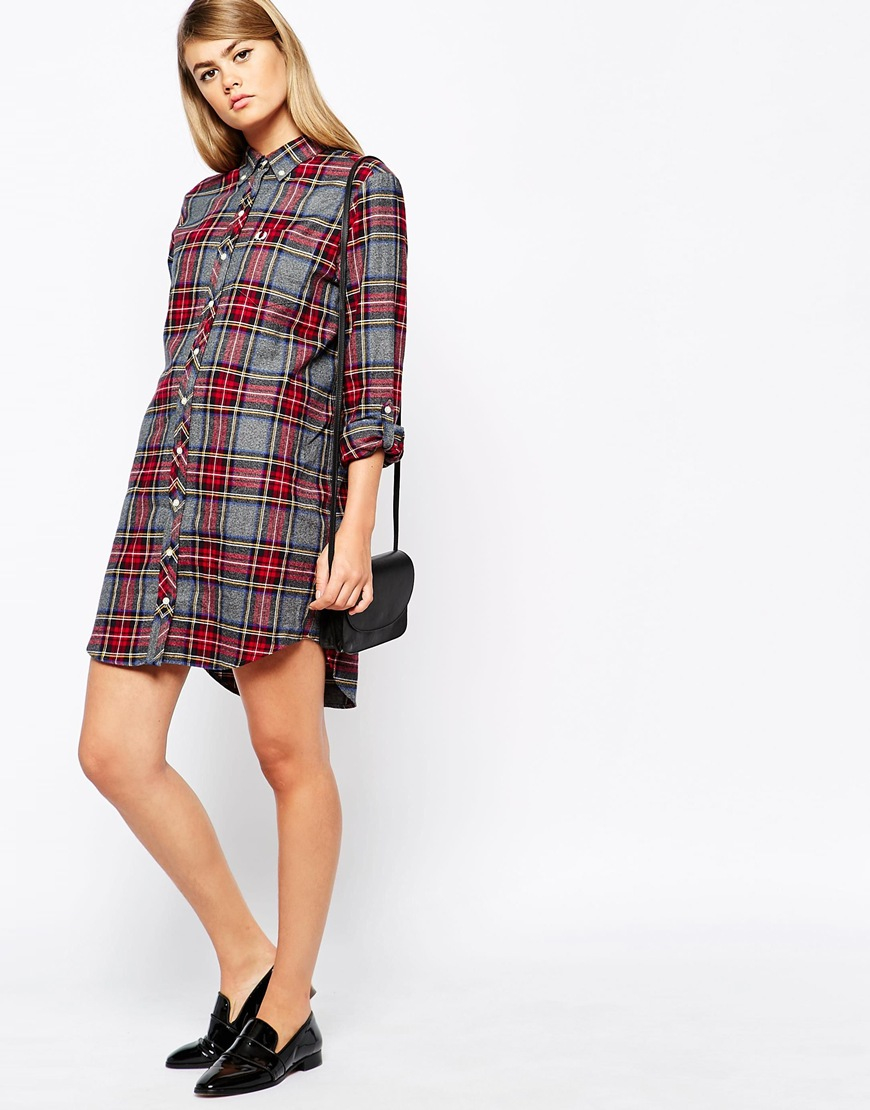 eaac8945e9d Fred Perry Bandana Print Shirt Dress In Red Lyst