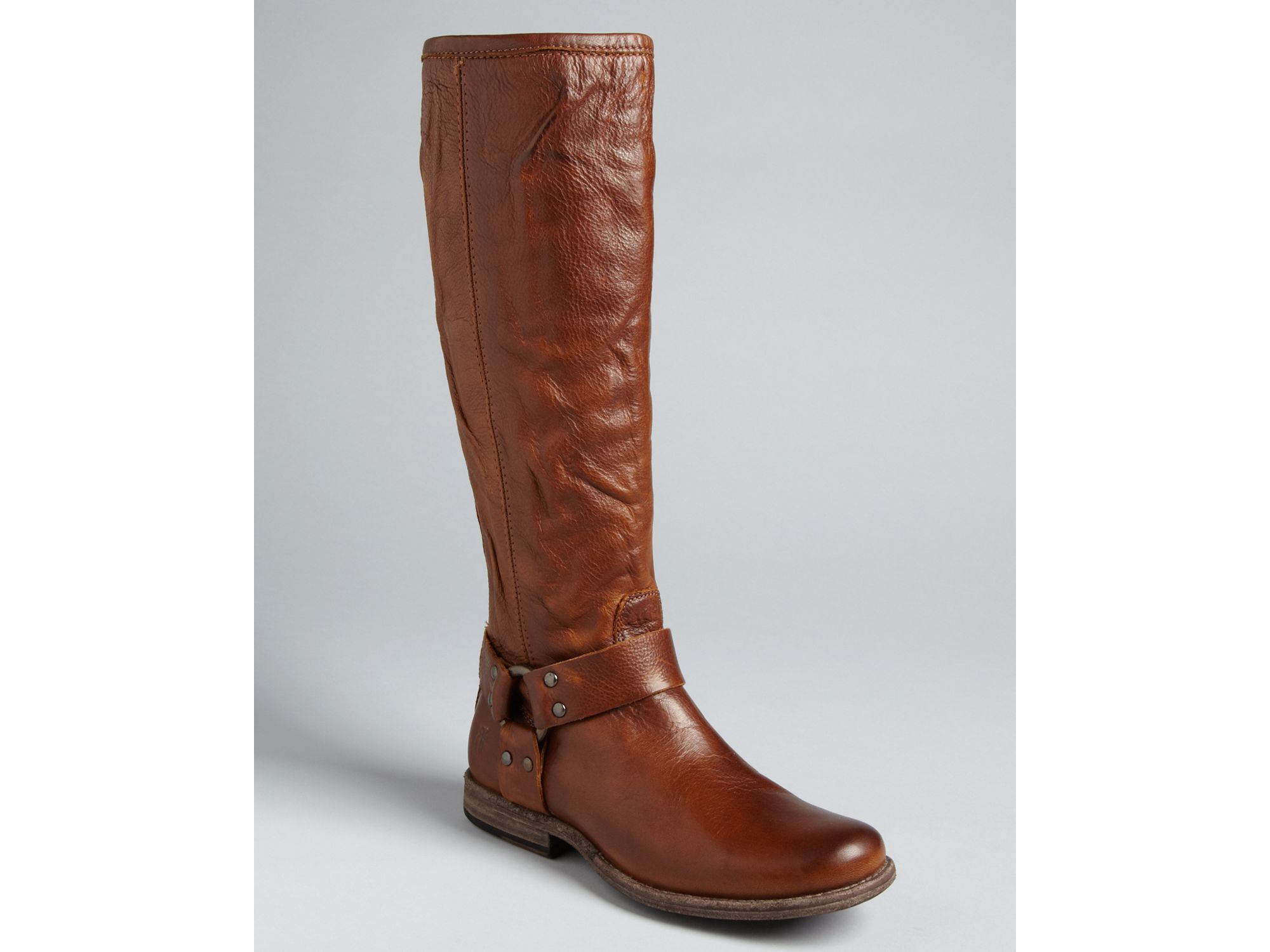 frye cognac flat boots phillip harness tall extended width brown product 0 342462581 normal lyst frye flat boots phillip harness tall extended width in brown