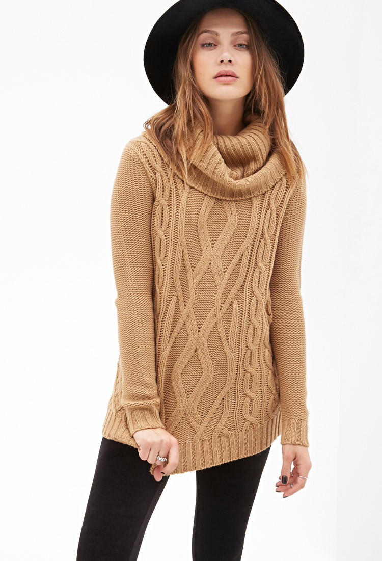 5bc77582a Lyst - Forever 21 Turtleneck Cable Knit Sweater in Natural