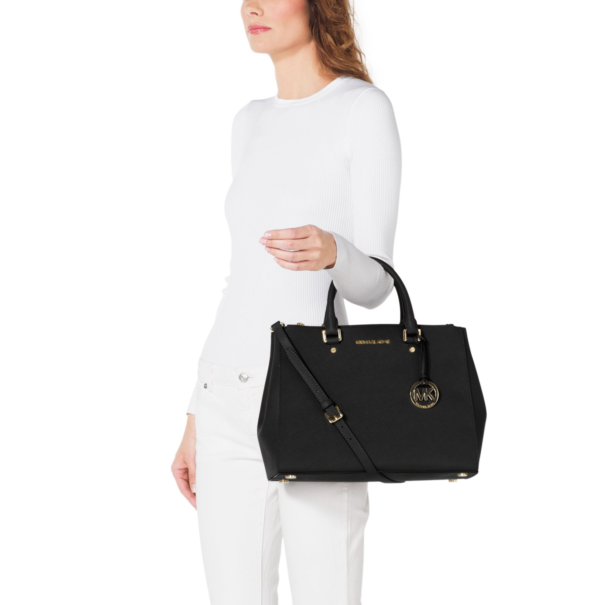 06aee467f776 ... netherlands lyst michael kors sutton saffiano leather large satchel in  black d83cc 66596