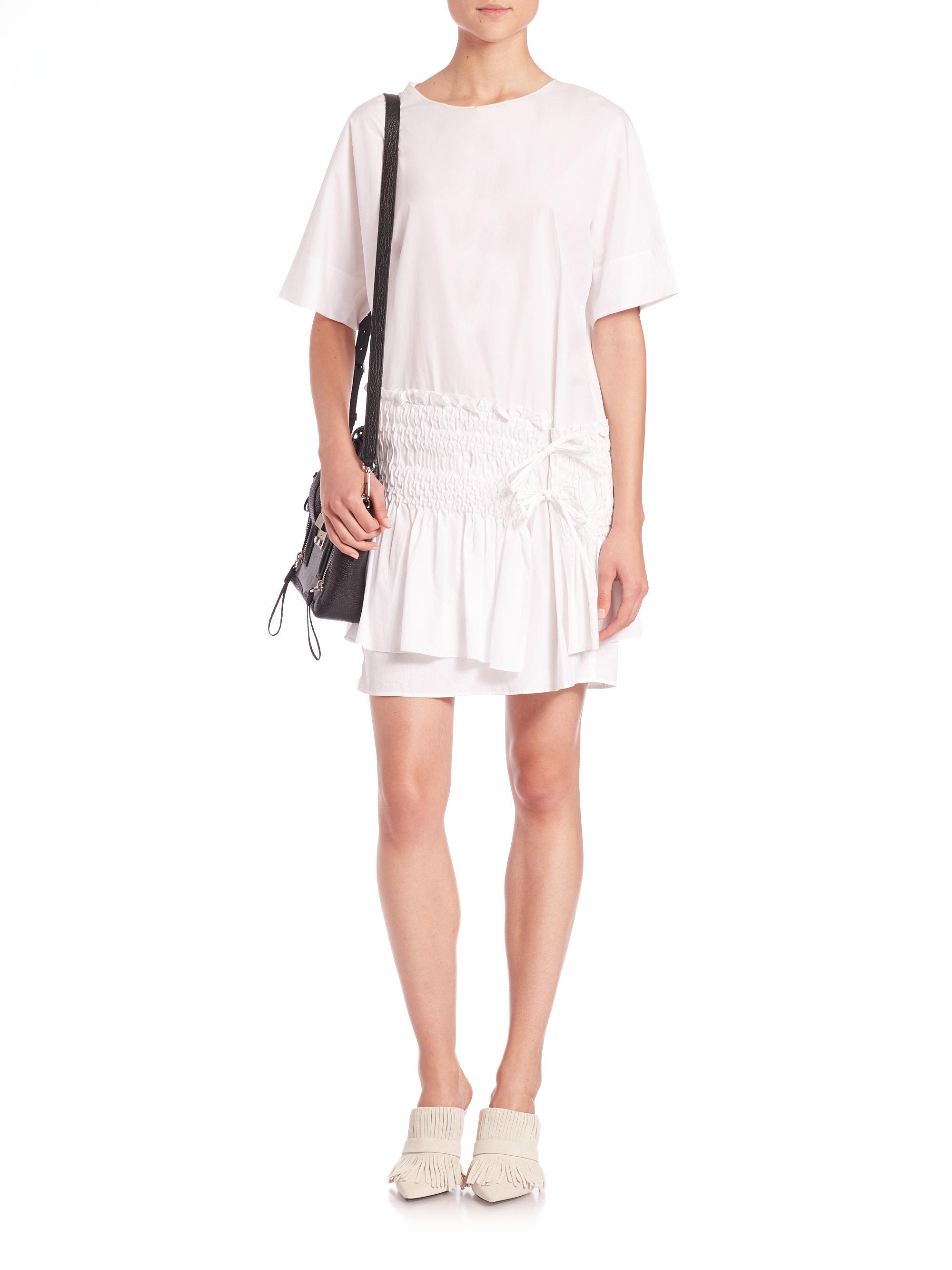 Lyst - 3.1 Phillip Lim Smocked Cotton T-shirt Dress in White