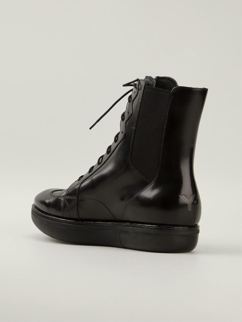 y 3 platform boots in black for lyst