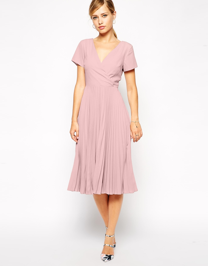 Asos Midi Skater Dress With Pleated Skirt And Wrap Front
