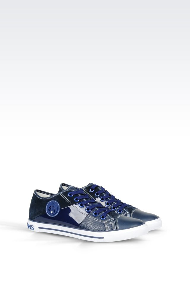 armani jeans leather sneaker in blue lyst. Black Bedroom Furniture Sets. Home Design Ideas