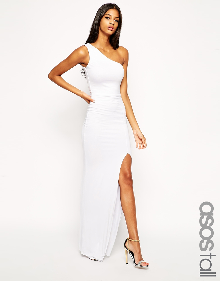 Asos Exclusive One Shoulder Maxi Bodycon Dress In White Lyst