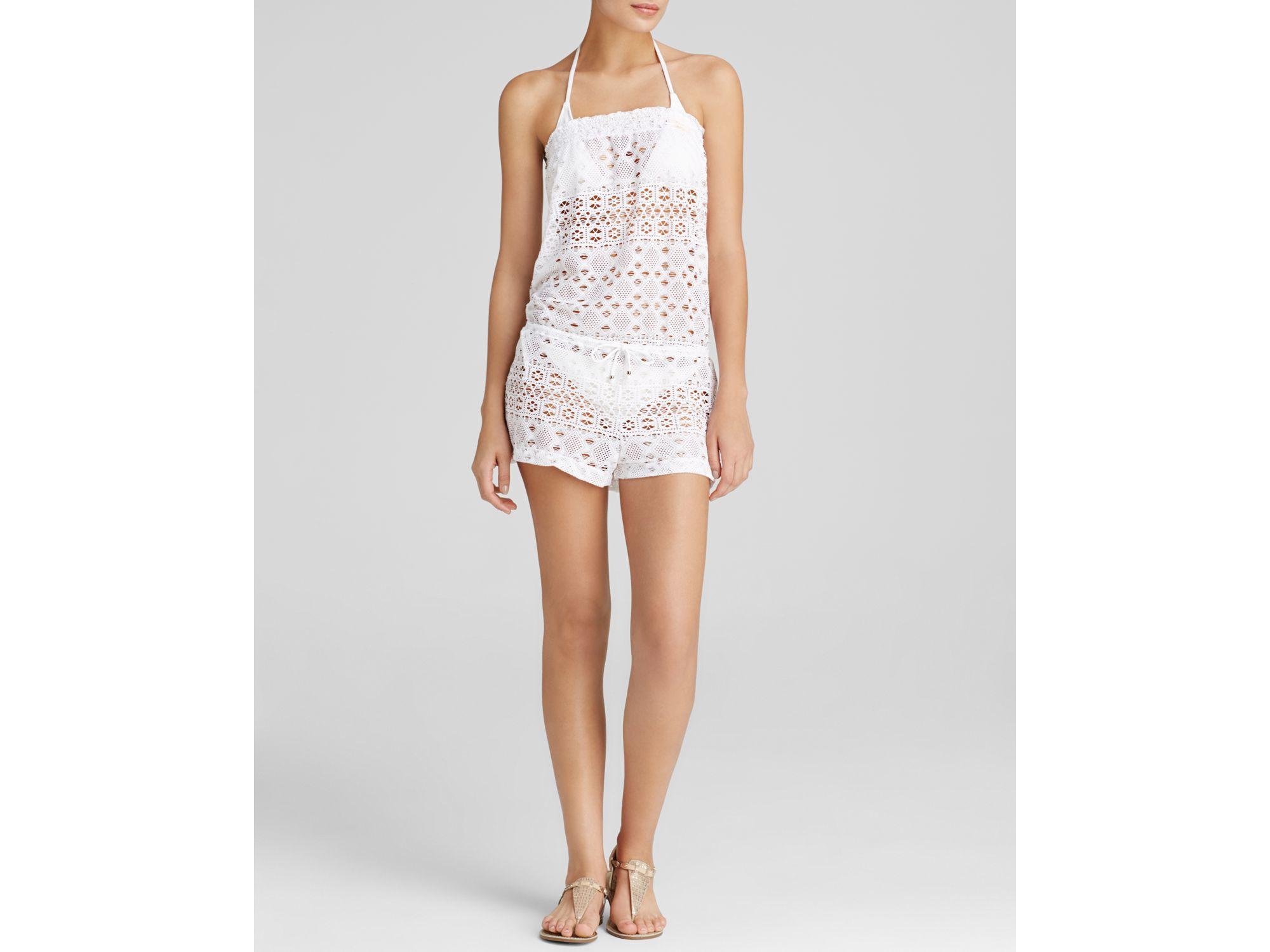 9ec11de1118f7 Lyst - Ralph Lauren Polo Crochet Swim Cover Up Romper in White
