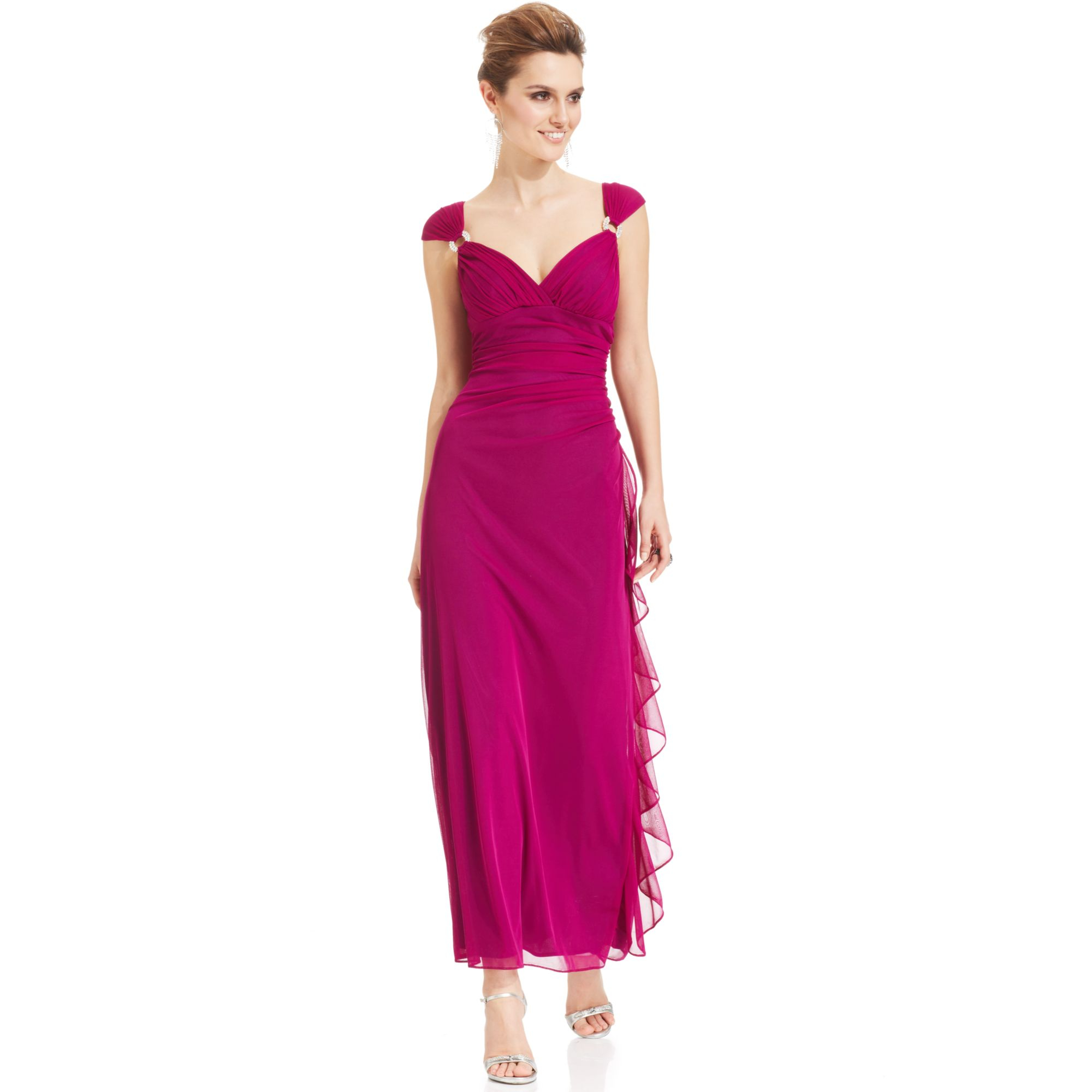 84740f612e4 Betsy   Adam Cap Sleeve Embellished Faux Wrap Gown in Purple - Lyst
