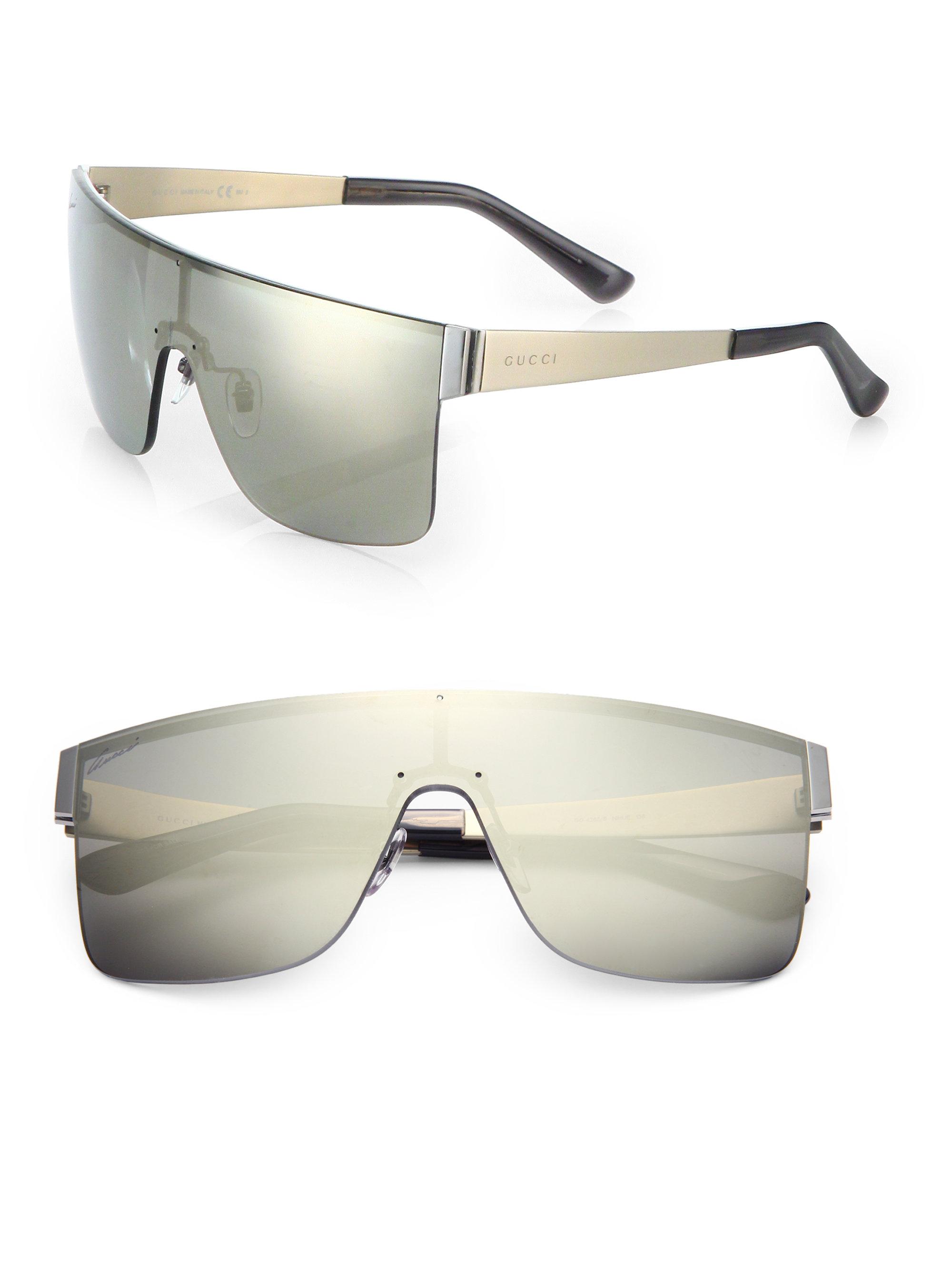 a6f760c7641 Lyst - Gucci Rimless Shield 99mm Square Sunglasses in Gray for Men