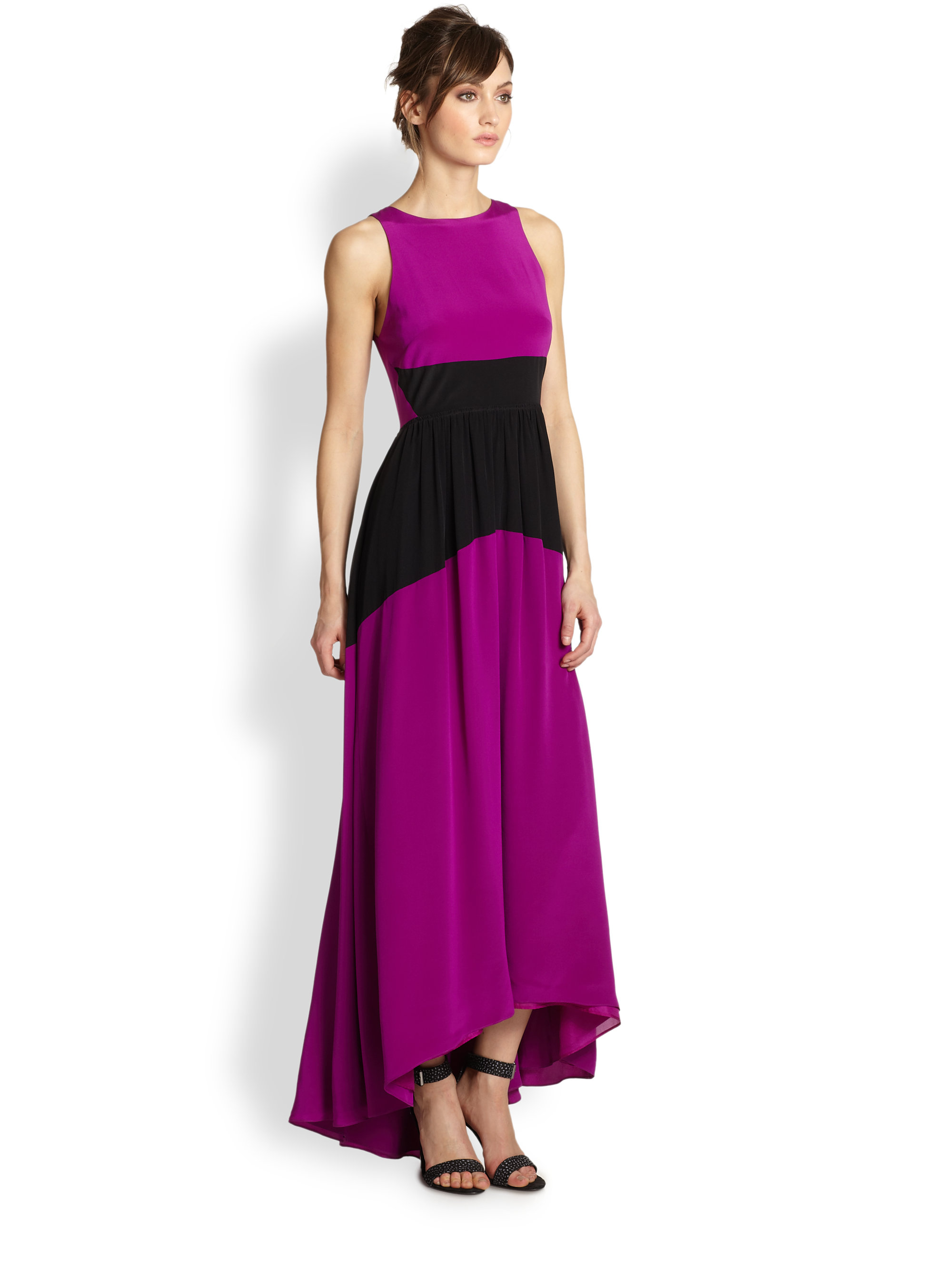 Tibi Silk Maxi Dress in Purple | Lyst