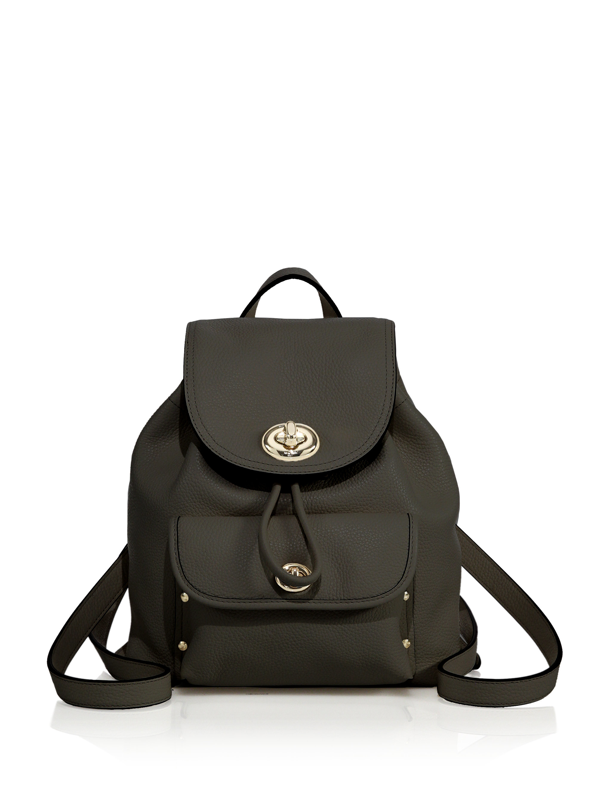 Coach Mini Leather Turnlock Backpack in Black | Lyst