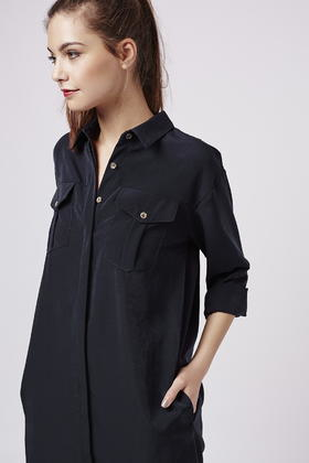 ca627abc8f94 TOPSHOP Oversized Cupro Shirtdress in Blue - Lyst