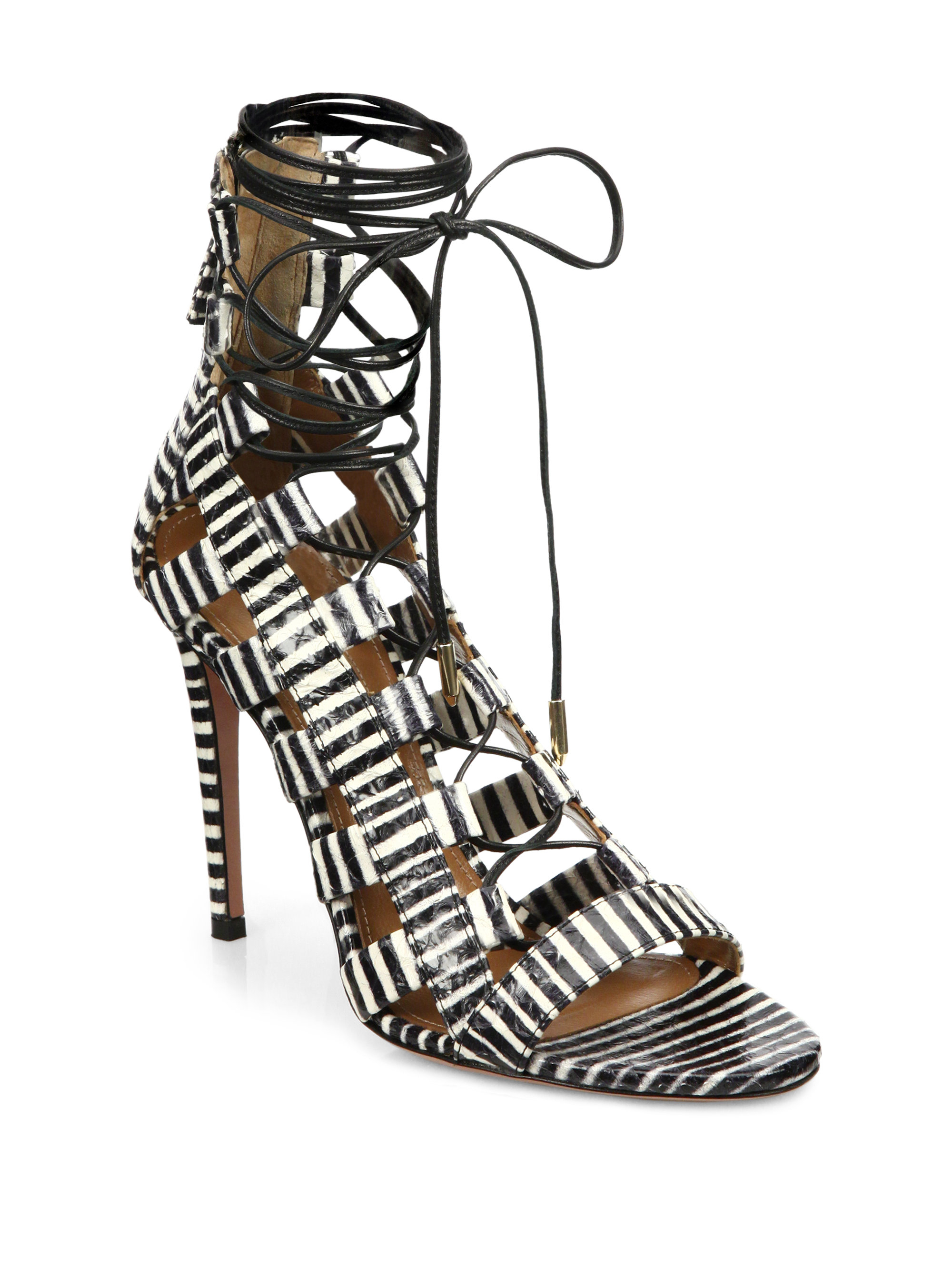 fbb5d1aa954 Lyst - Aquazzura Amazon Striped Leather Lace-up Sandals in Black