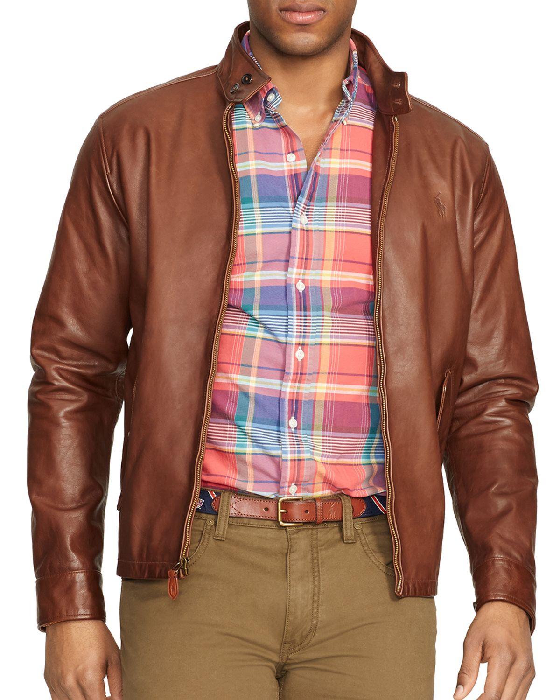 Ralph lauren brown leather jacket