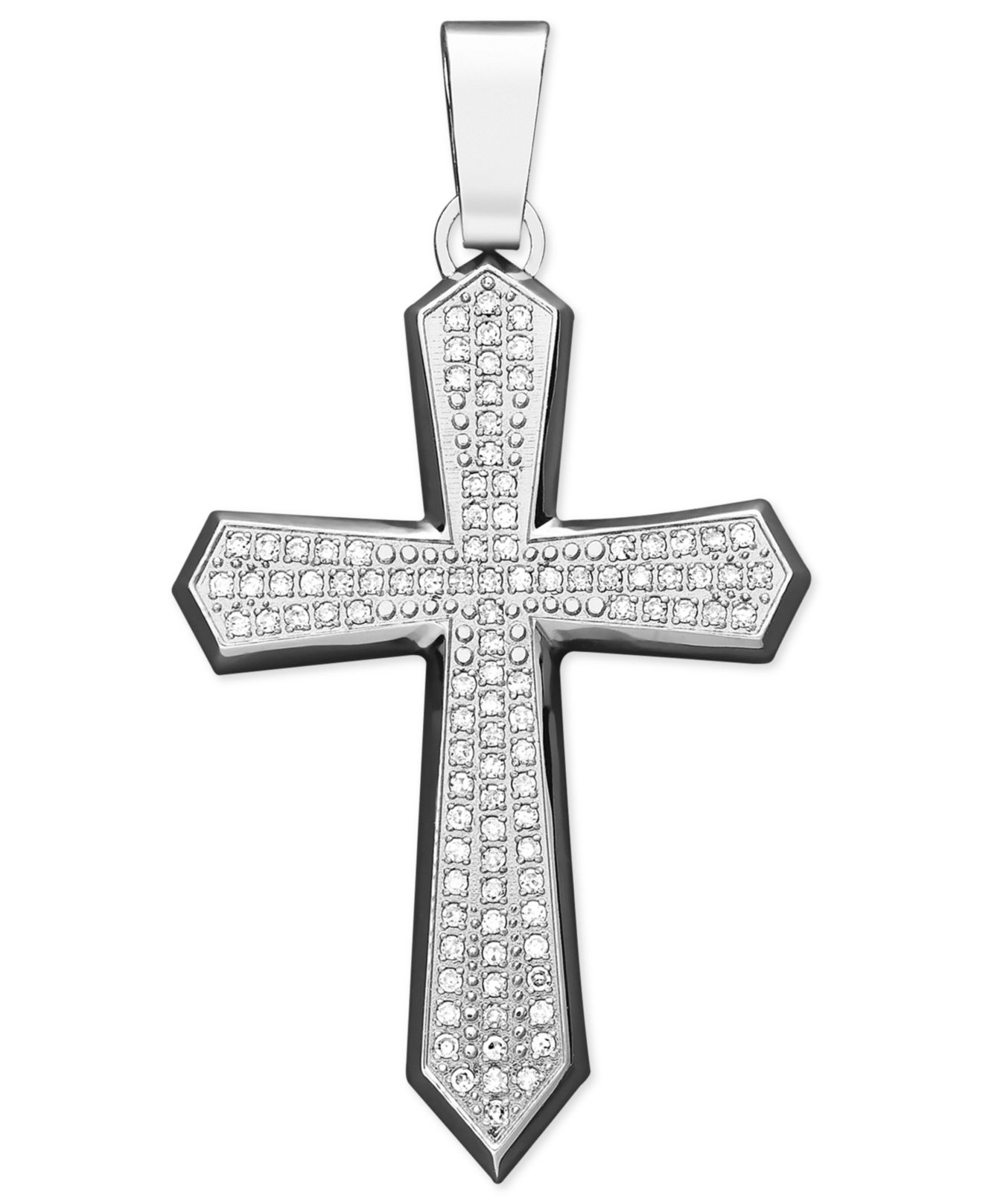 Macy s Men s Diamond Cross Pendant Necklace In Stainless Steel 1