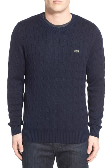 ec996601b3 Lyst - Lacoste Cable Knit Crewneck Sweater in Blue for Men