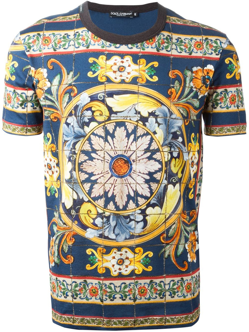 Lyst dolce gabbana 39 majolica 39 print t shirt in blue for Dolce and gabbana printed t shirts