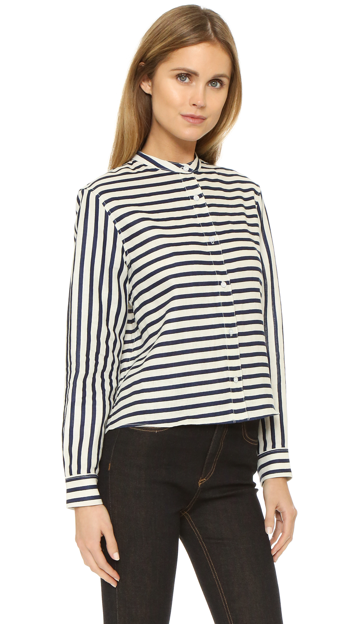 Rag bone cropped leeds shirt in black lyst for Printed t shirts leeds