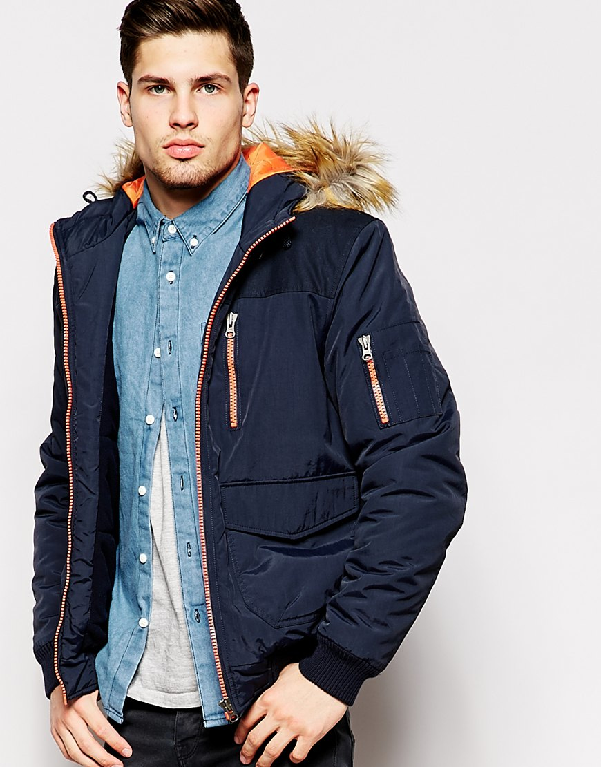 Asos Parka Jacket With Contrast Yoke In Navy in Blue for Men | Lyst