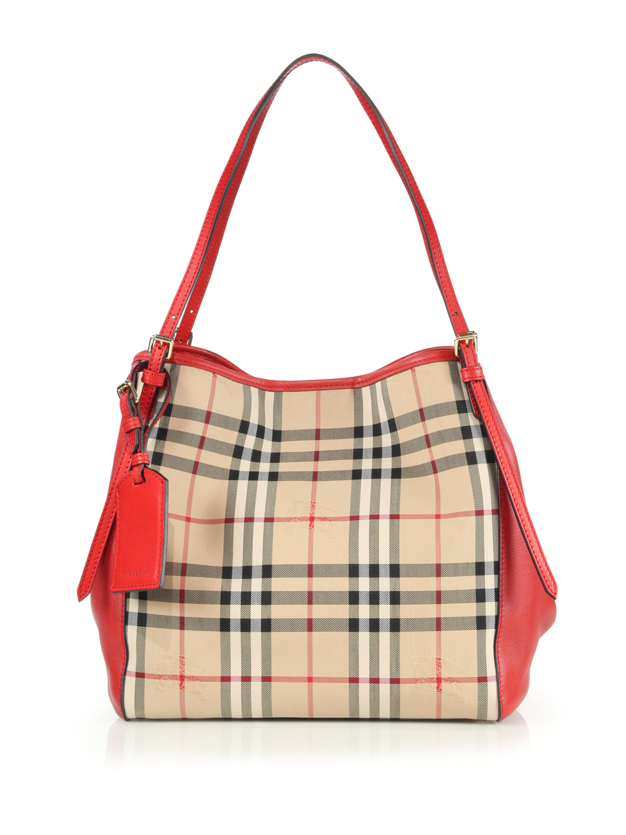 Lyst - Burberry Canter Small Horseferry Check Tote in Red 64fabf9337ac9