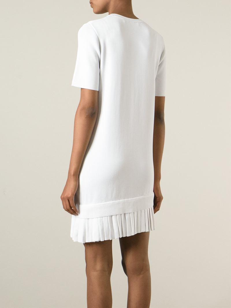 b0697ef44a9 Neil Barrett Pleated Hem Sweater Dress in White - Lyst