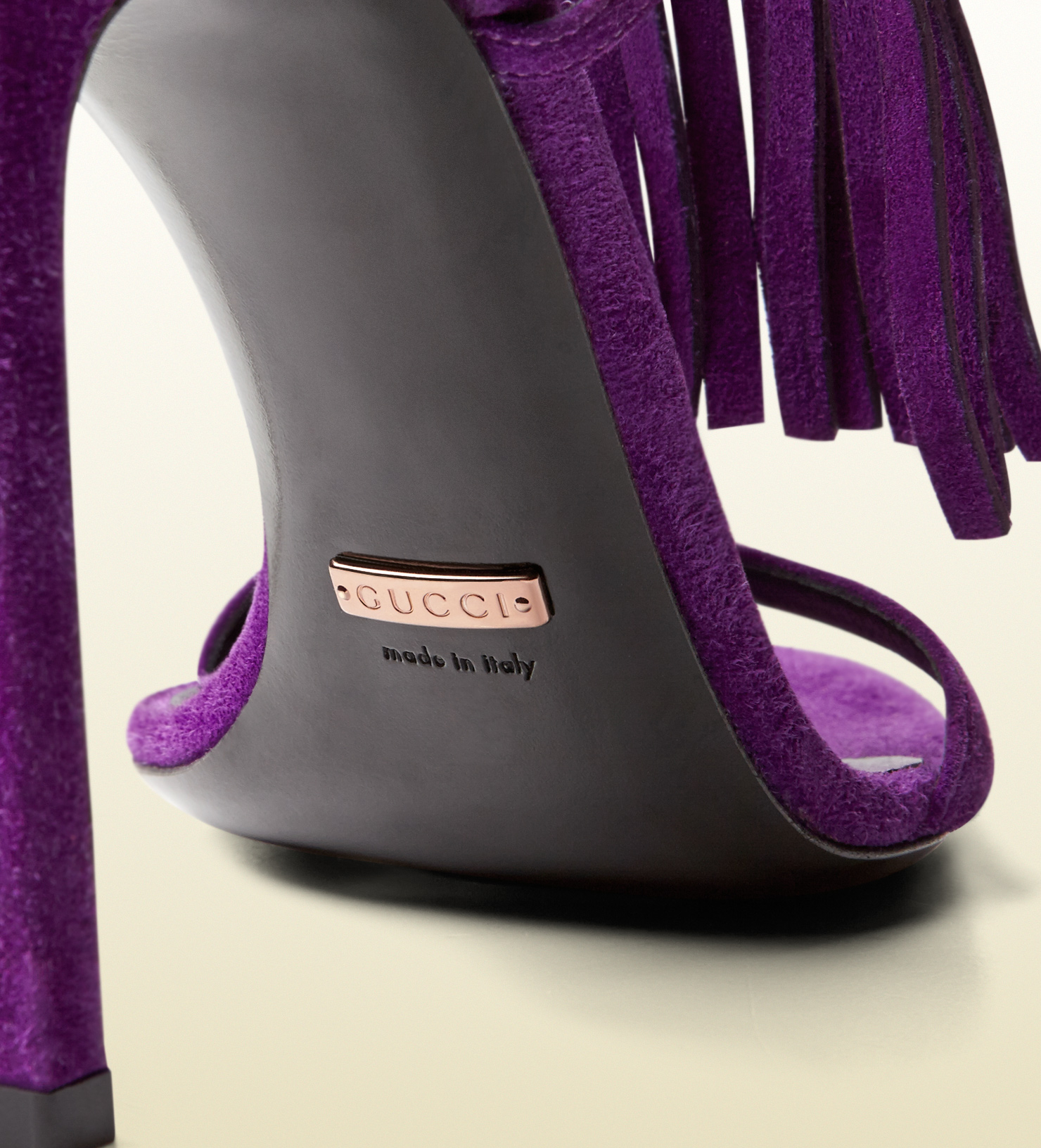 Lyst Gucci Becky Suede Fringed High Heel Sandal In Purple